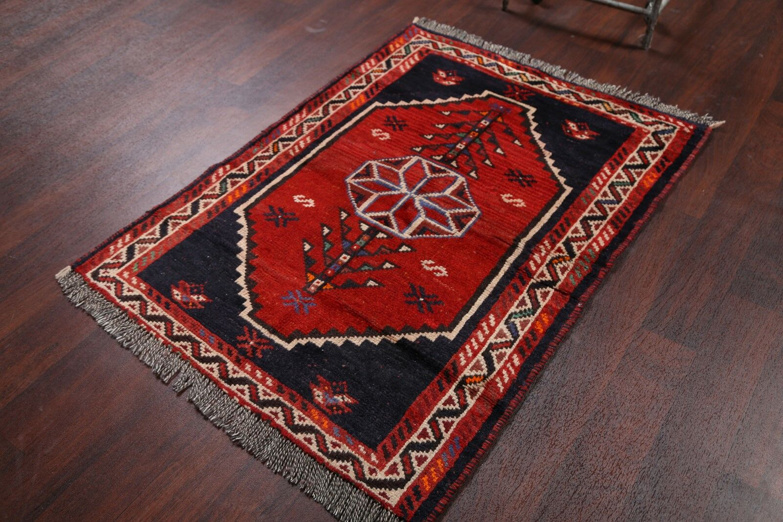 One-of-a-Kind Meaney Traditional Geometric Shiraz Persian Hand-Knotted 3'5