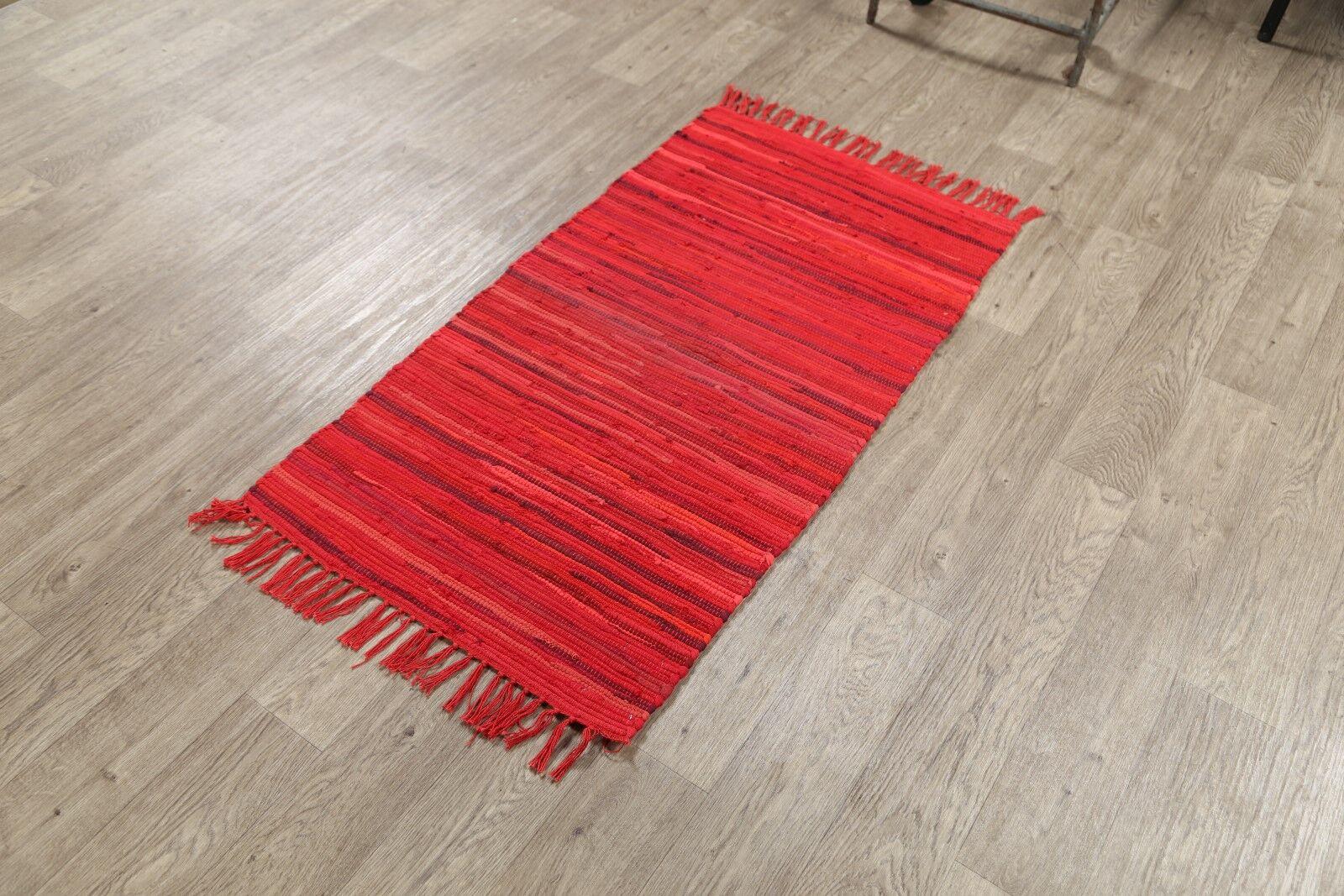 Logansport Kilim Oriental Hand-Woven Wool Red/Burgundy Area Rug