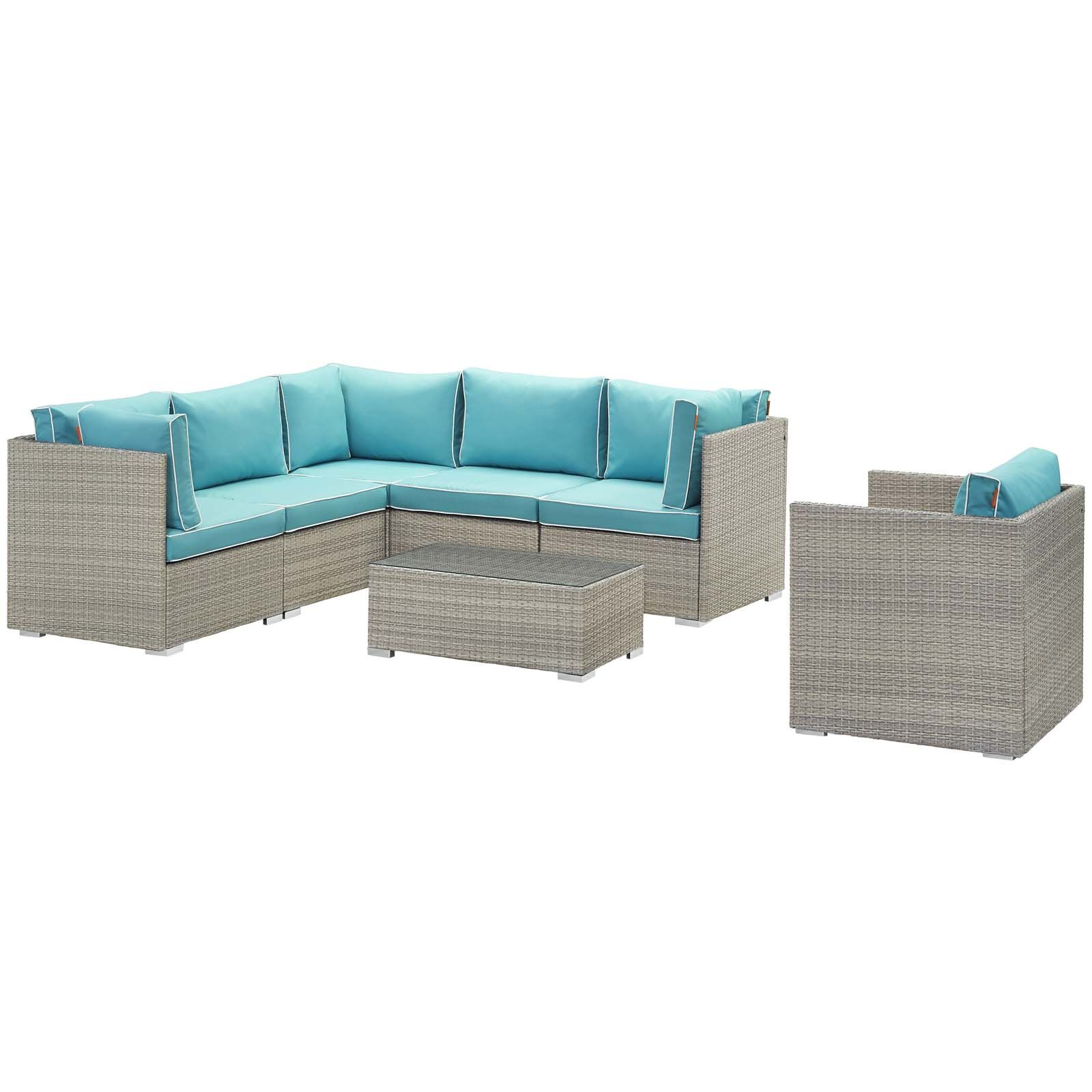 Heinrich 7 Piece Rattan Sectional Set with Cushions Cushion Color: Turquoise