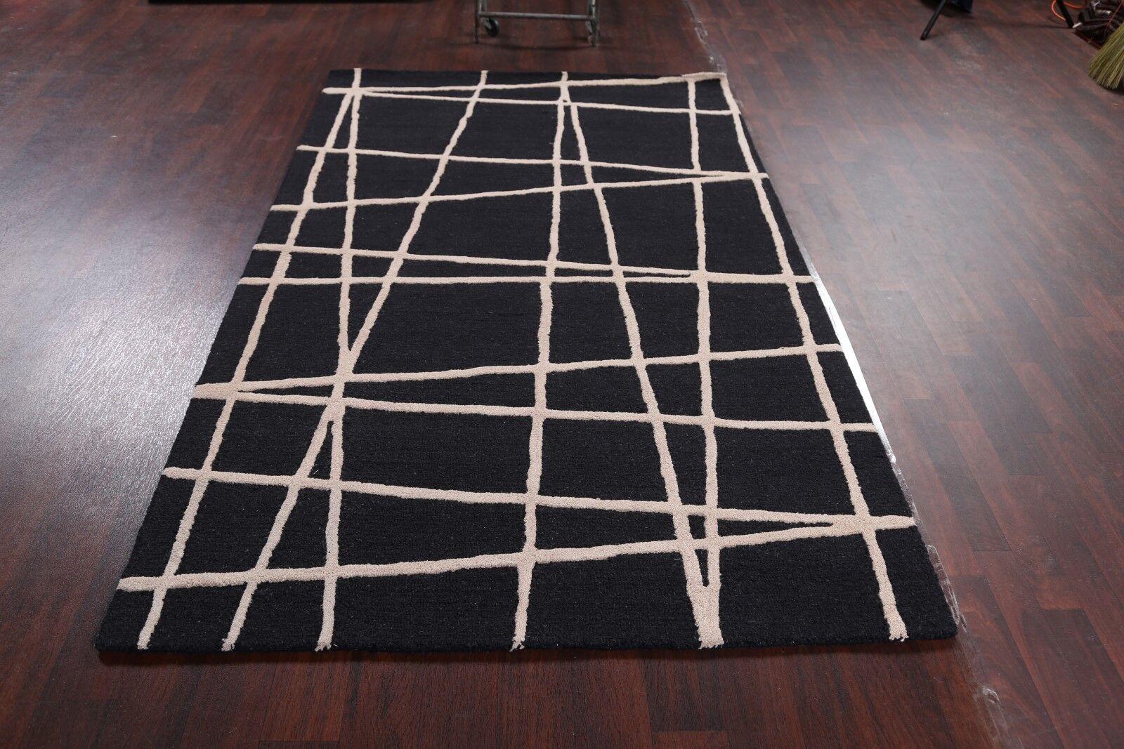 Larkin Oushak Indian Oriental Hand-Tufted Wool Black/White Area Rug