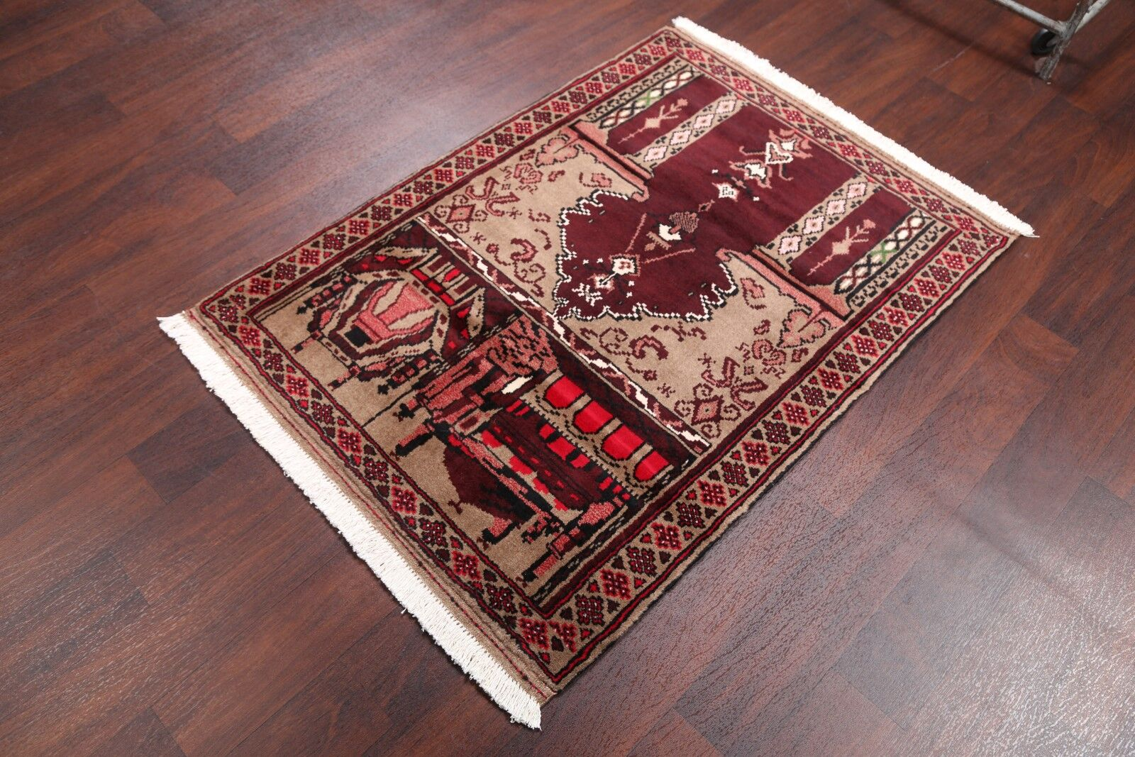 One-of-a-Kind Balouch Turkoman Persian Traditional Hand-Knotted 3'1