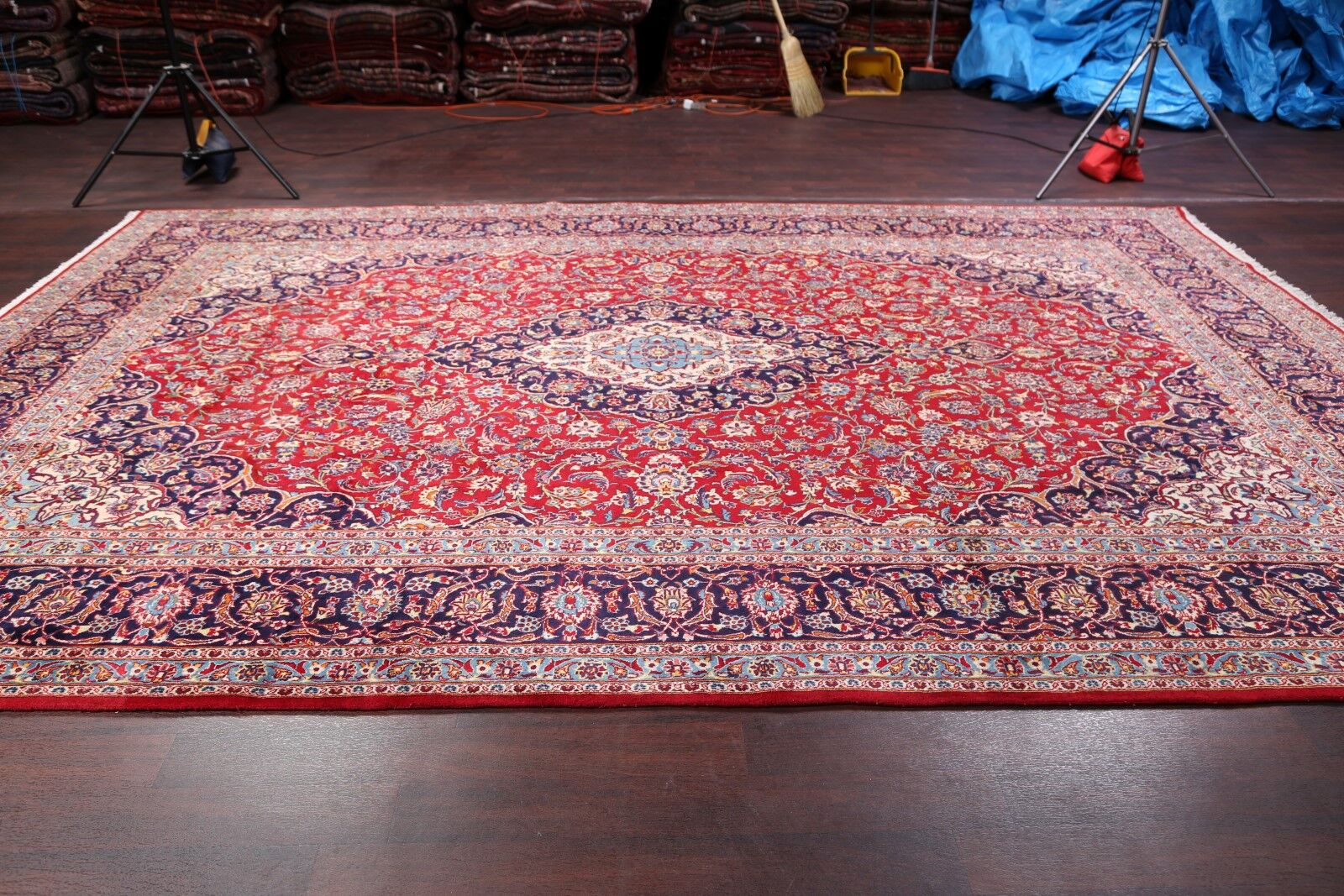 One-of-a-Kind Classical Kashan Vintage Persian Hand-Knotted 9'9