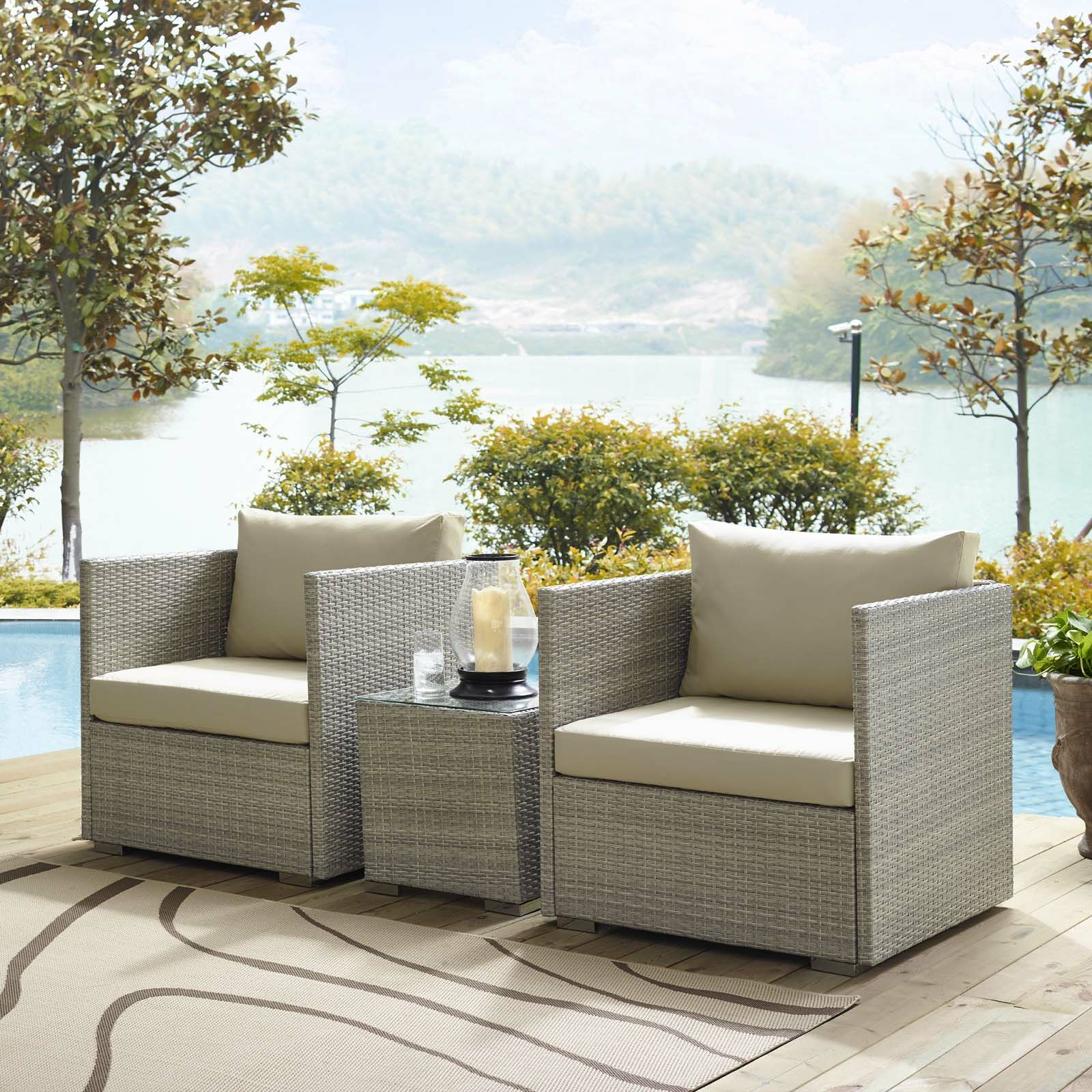 Heinrich 3 Piece Sunbrella� Conversation Set with Cushions Cushion Color: Beige