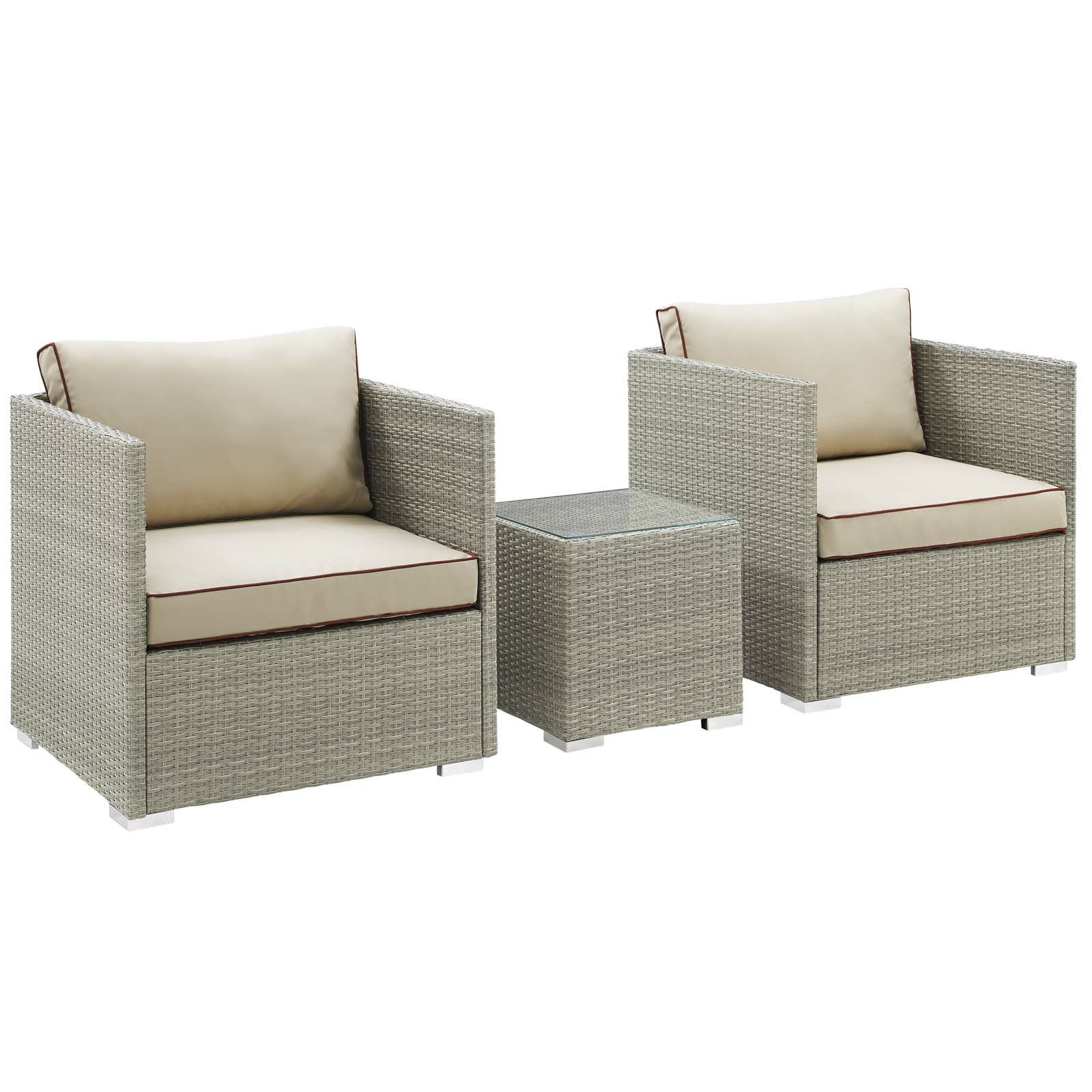 Heinrich 3 Piece Conversation Set with Cushions Cushion Color: Beige