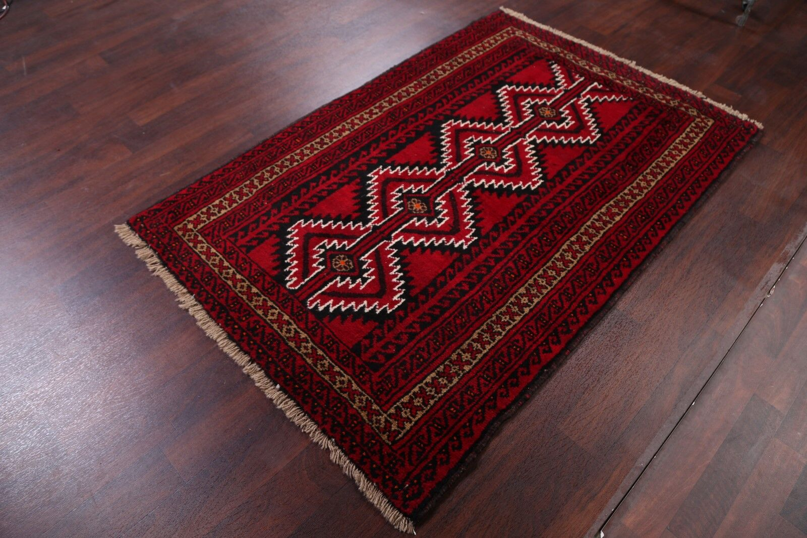 One-of-a-Kind Classical Geometric Balouch Bokara Persian Hand-Knotted 4'1