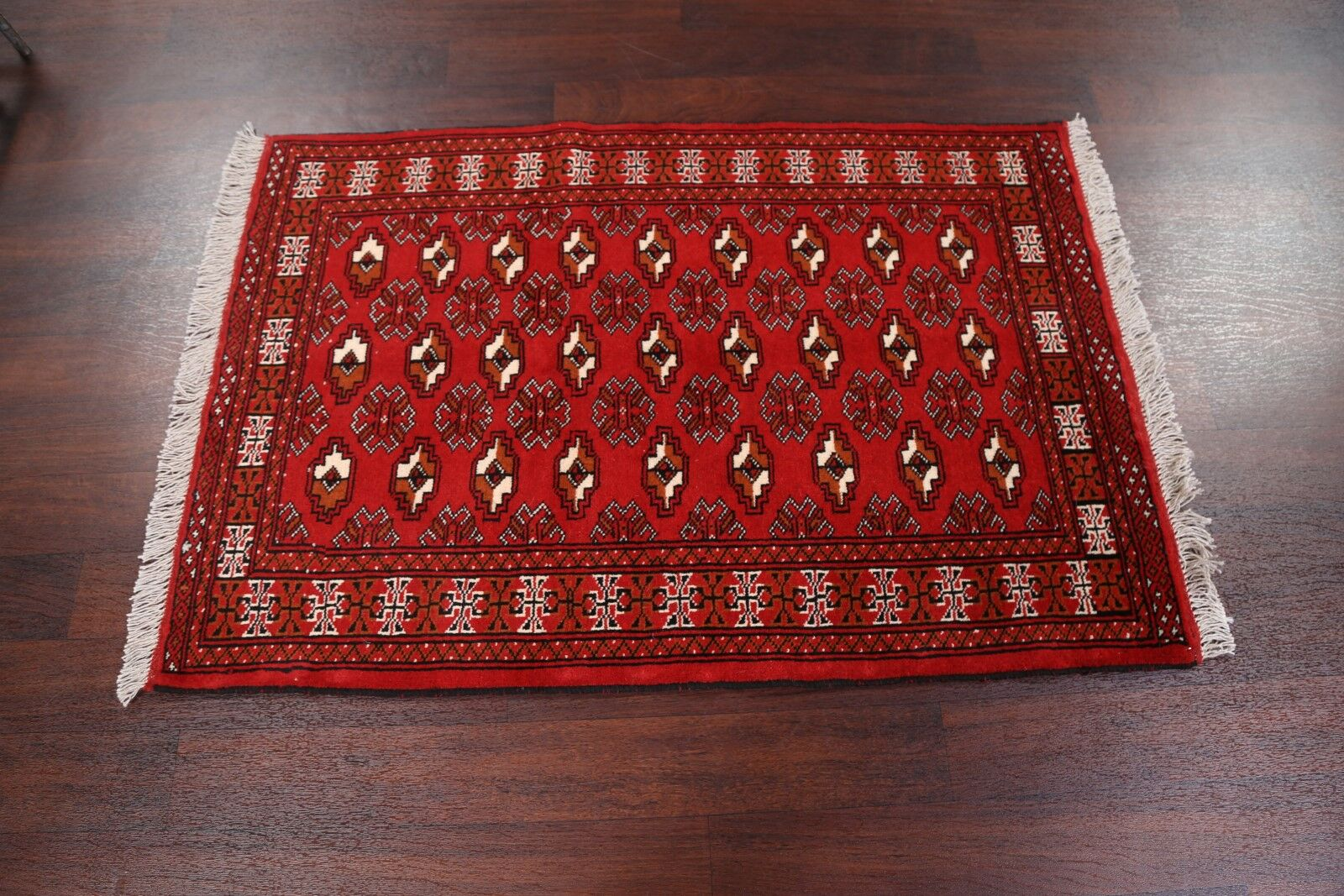 One-of-a-Kind Classical Balouch Bokhara Turkoman Persian Hand-Knotted 3'2