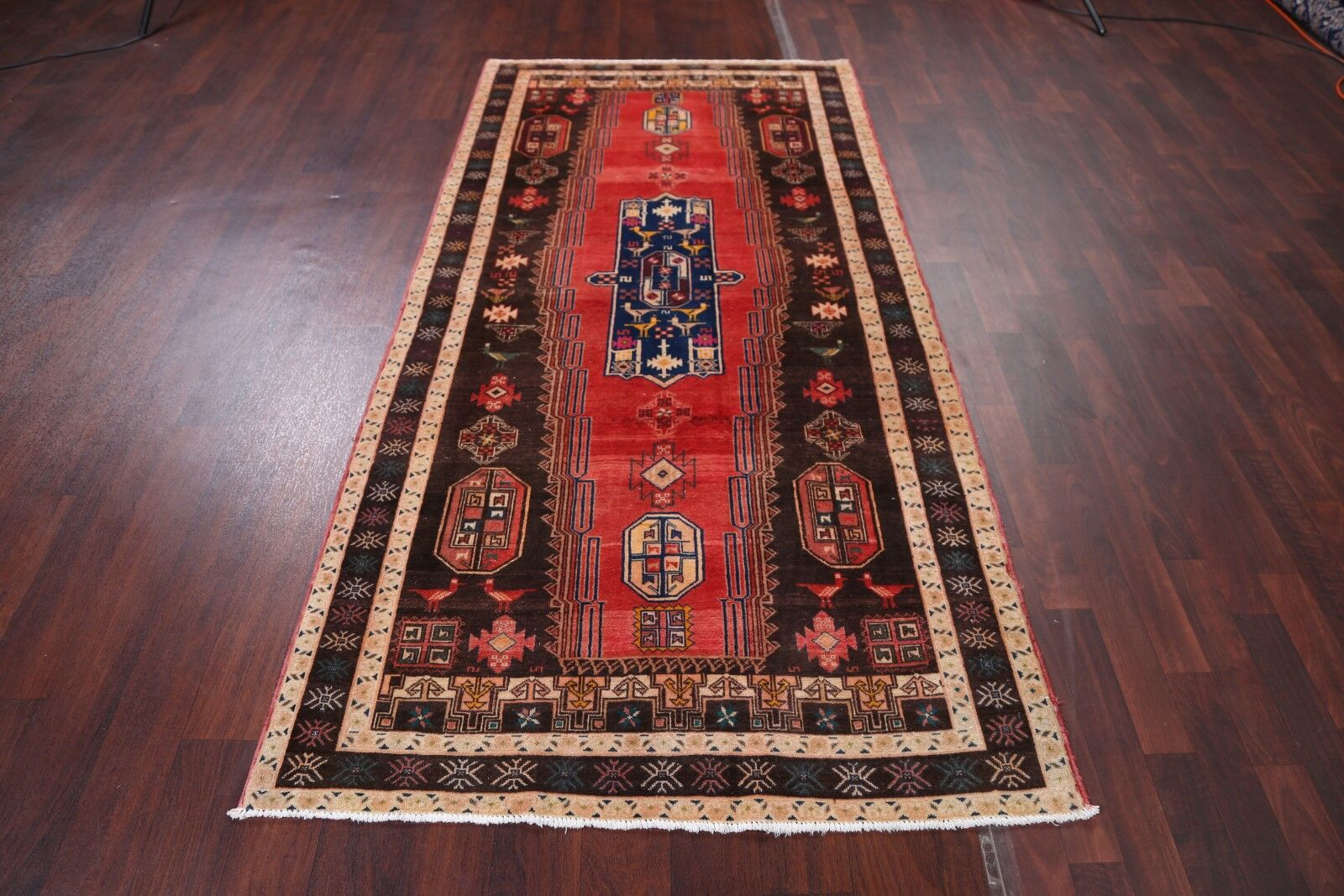 One-of-a-Kind Zanjan Vintage Traditional Persian Hand-Knotted 4'1