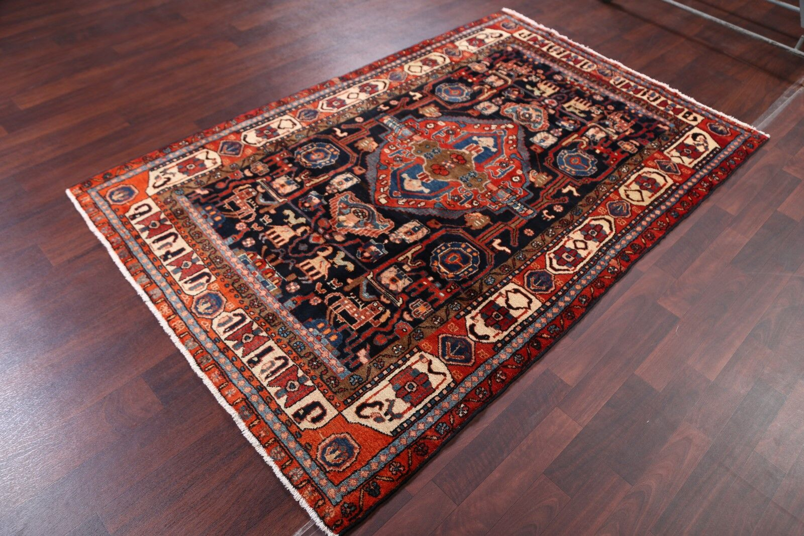 One-of-a-Kind Hamedan Vintage Persian Traditional Hand-Knotted 4'8