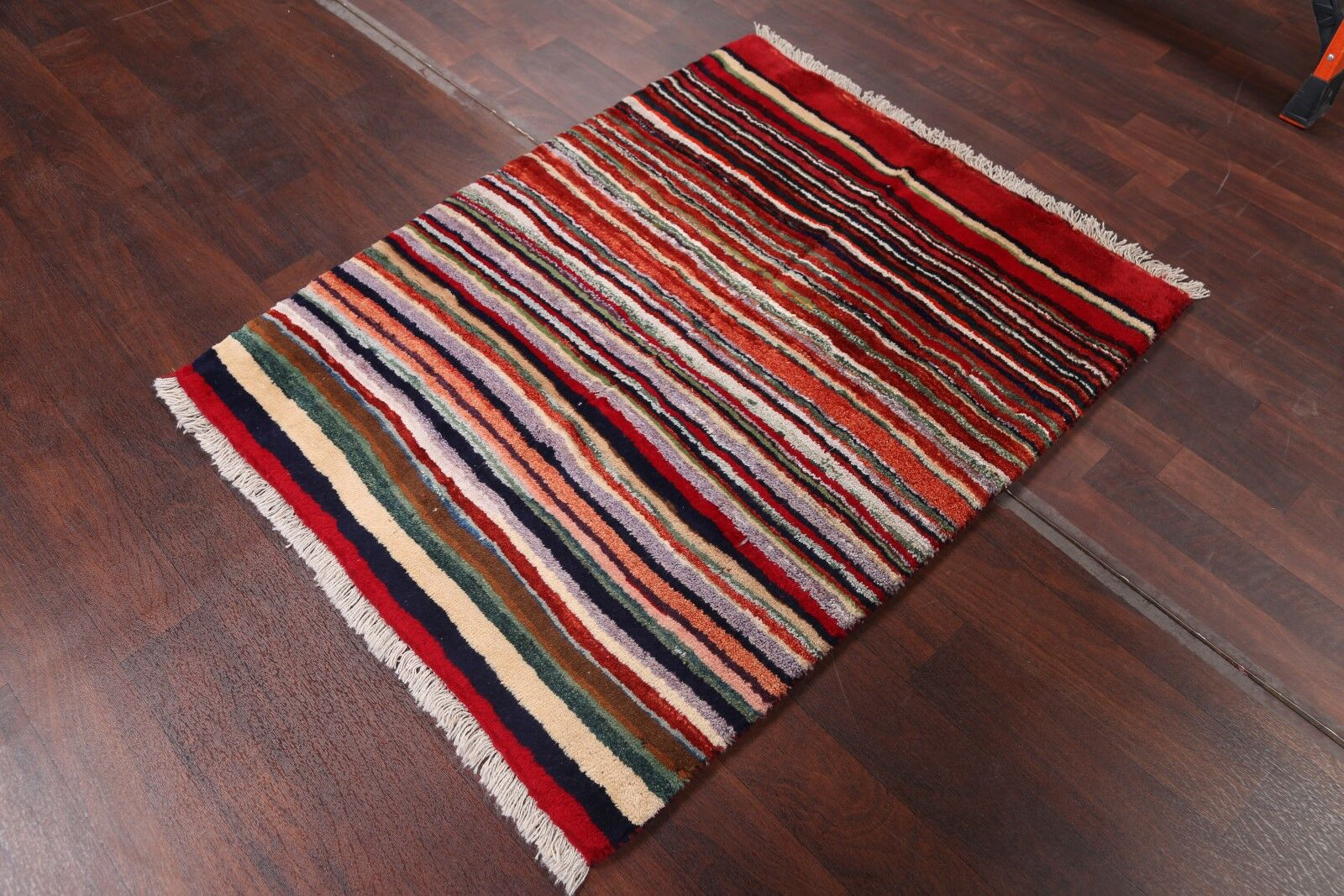 One-of-a-Kind Shiraz Gabbeh Persian Hand-Knotted 4' 4'' x 3' 6'' Wool Red/Black Area Rug
