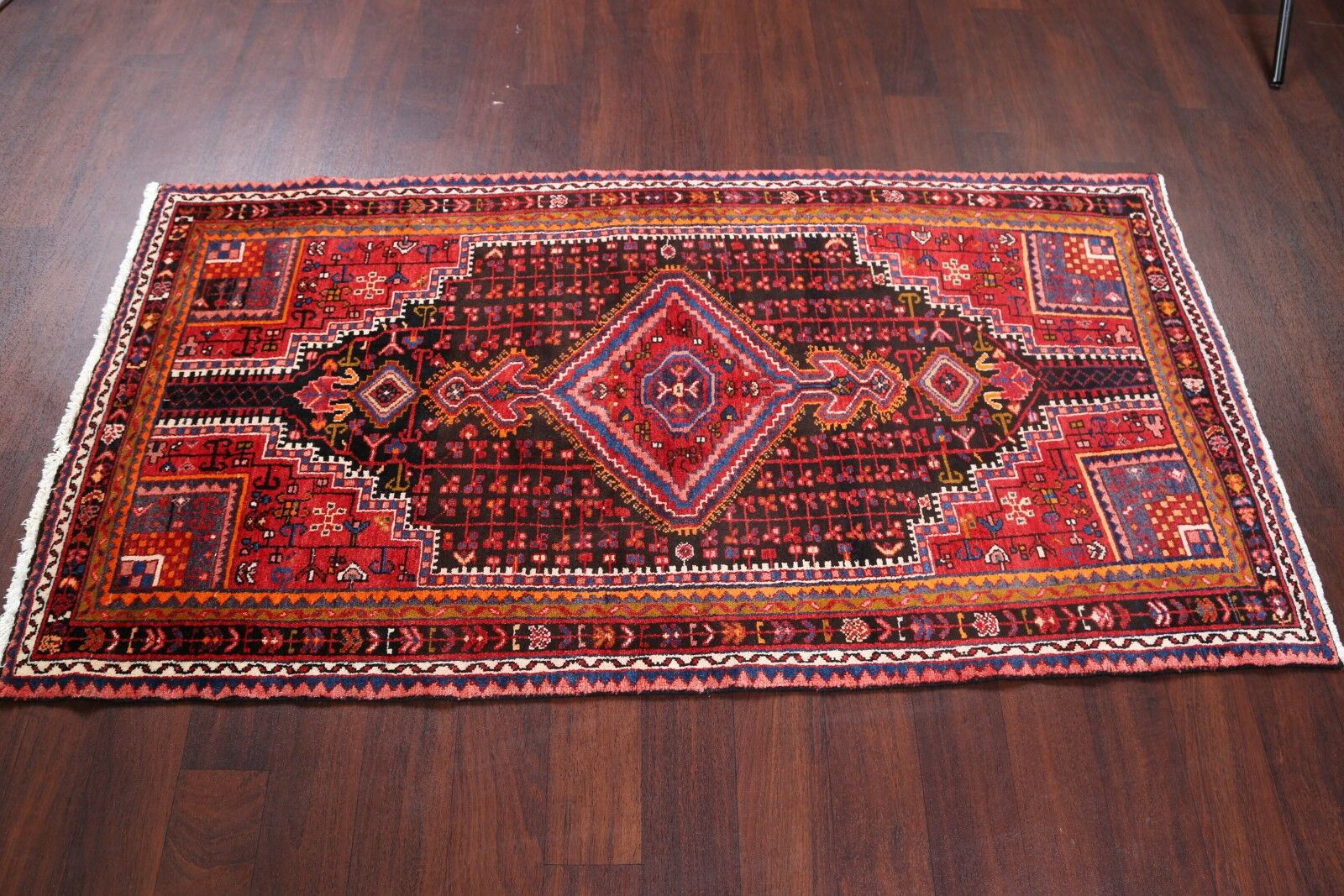 One-of-a-Kind Hamedan Persian Geometric Hand-Knotted 3'3