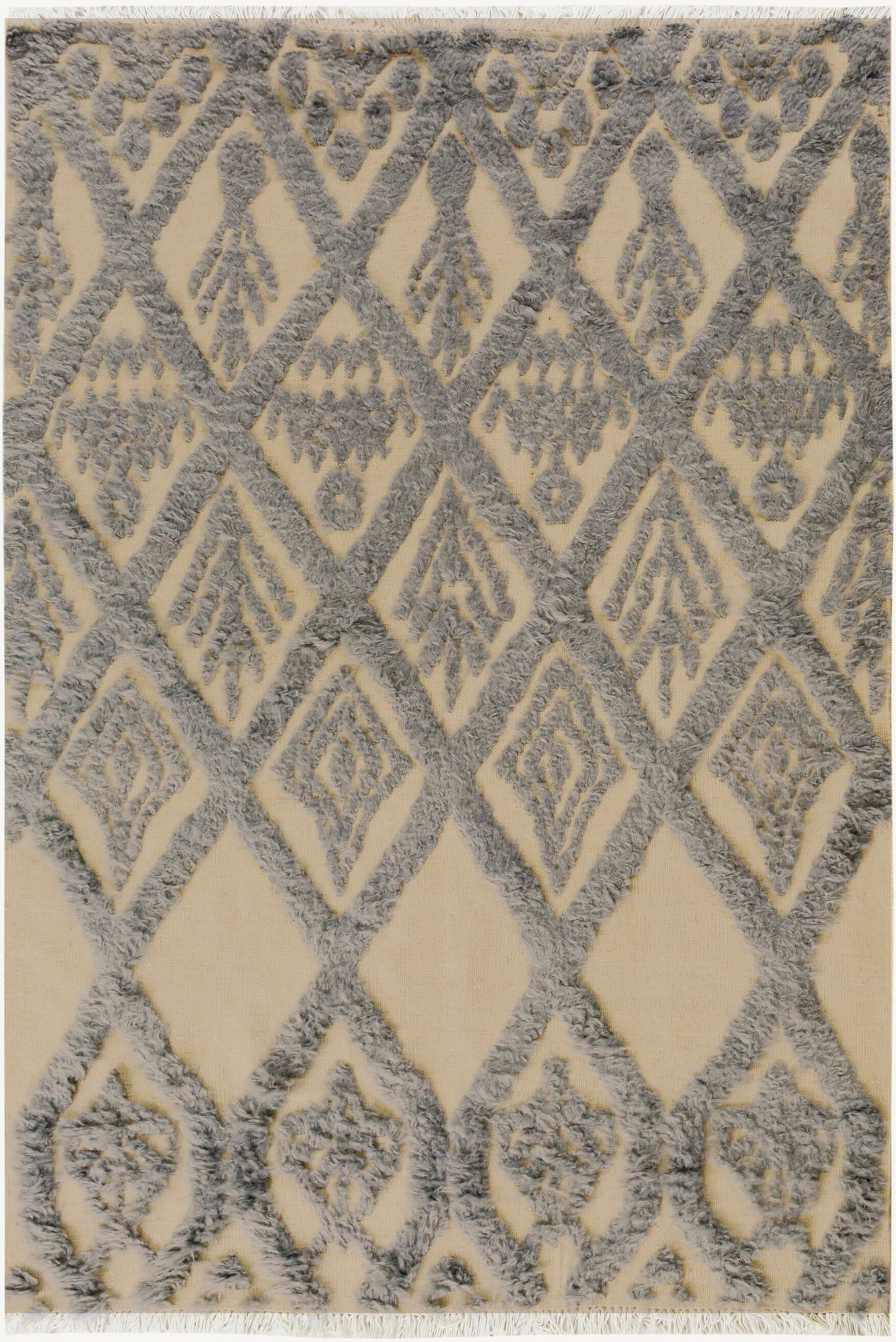 One-of-a-Kind Alastar Hand-Knotted Wool Ivory/Blue Area Rug Rug Size: Rectangle  5' x 7'