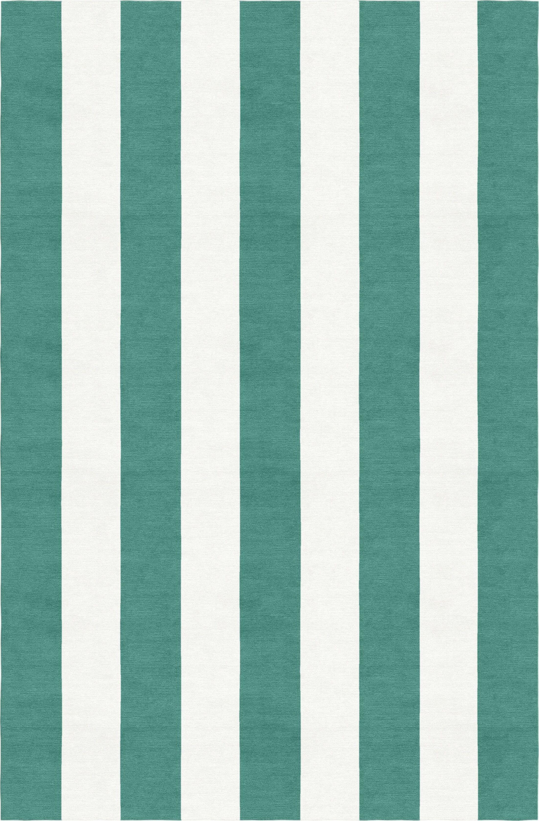 Watkin Stripe Hand-Woven Wool Teal/White Area Rug Rug Size: Rectangle 5' x 8'