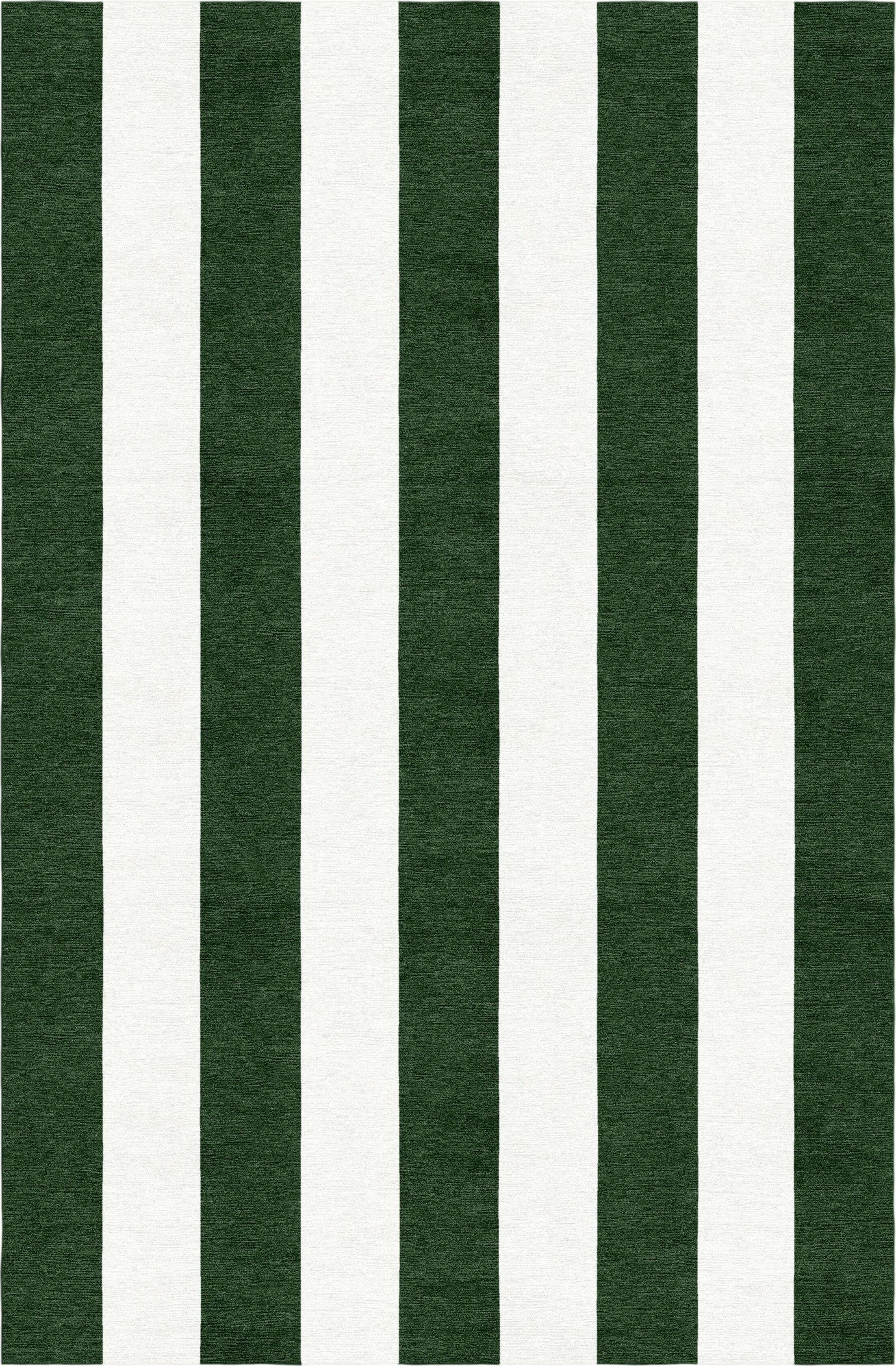 Watley Stripe Hand-Woven Wool Dark Green/White Area Rug Rug Size: Rectangle 8' x 10'