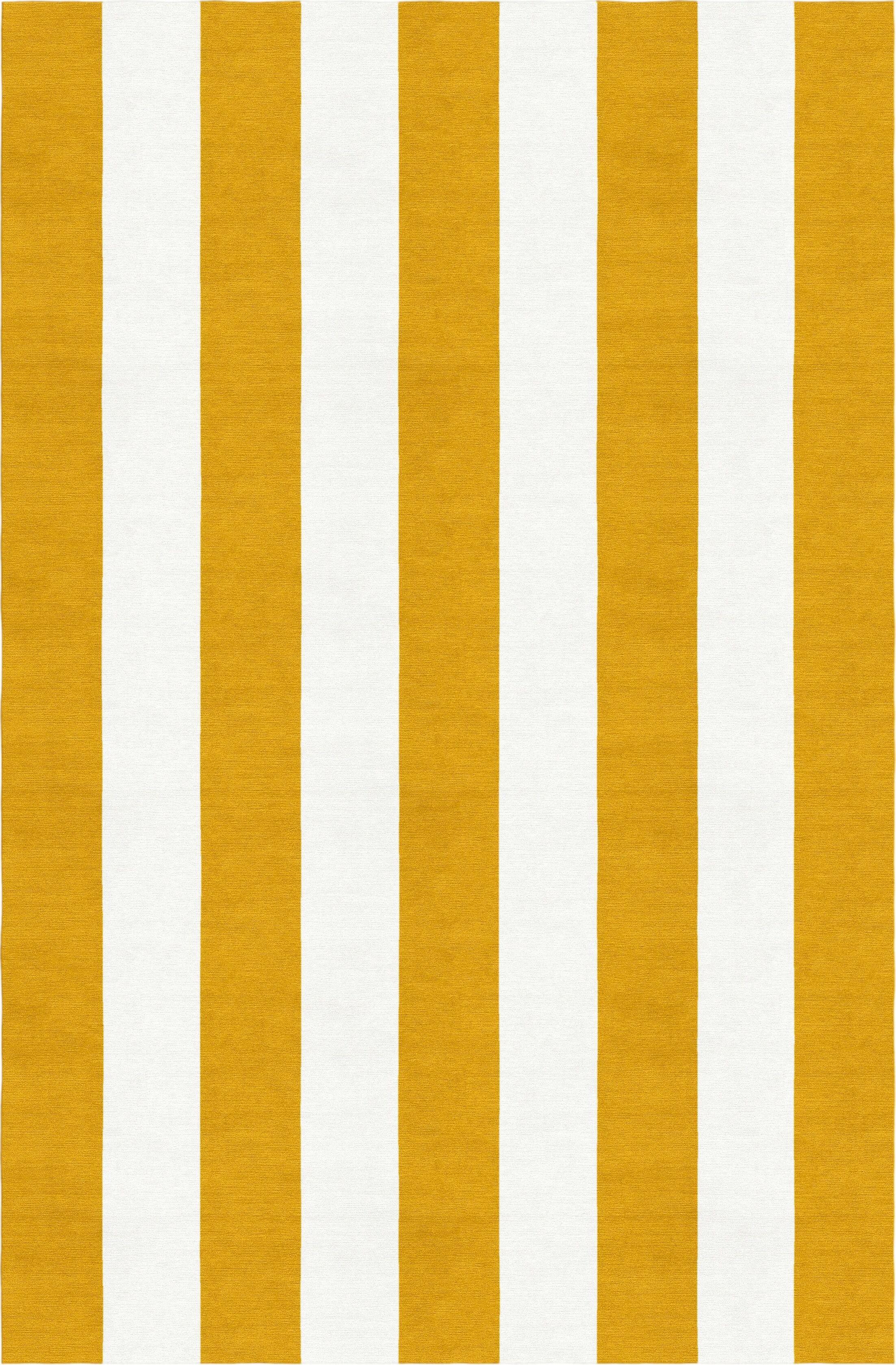 Watlington Stripe Hand-Woven Wool Dark Gold/White Area Rug Rug Size: Rectangle 6' x 9'