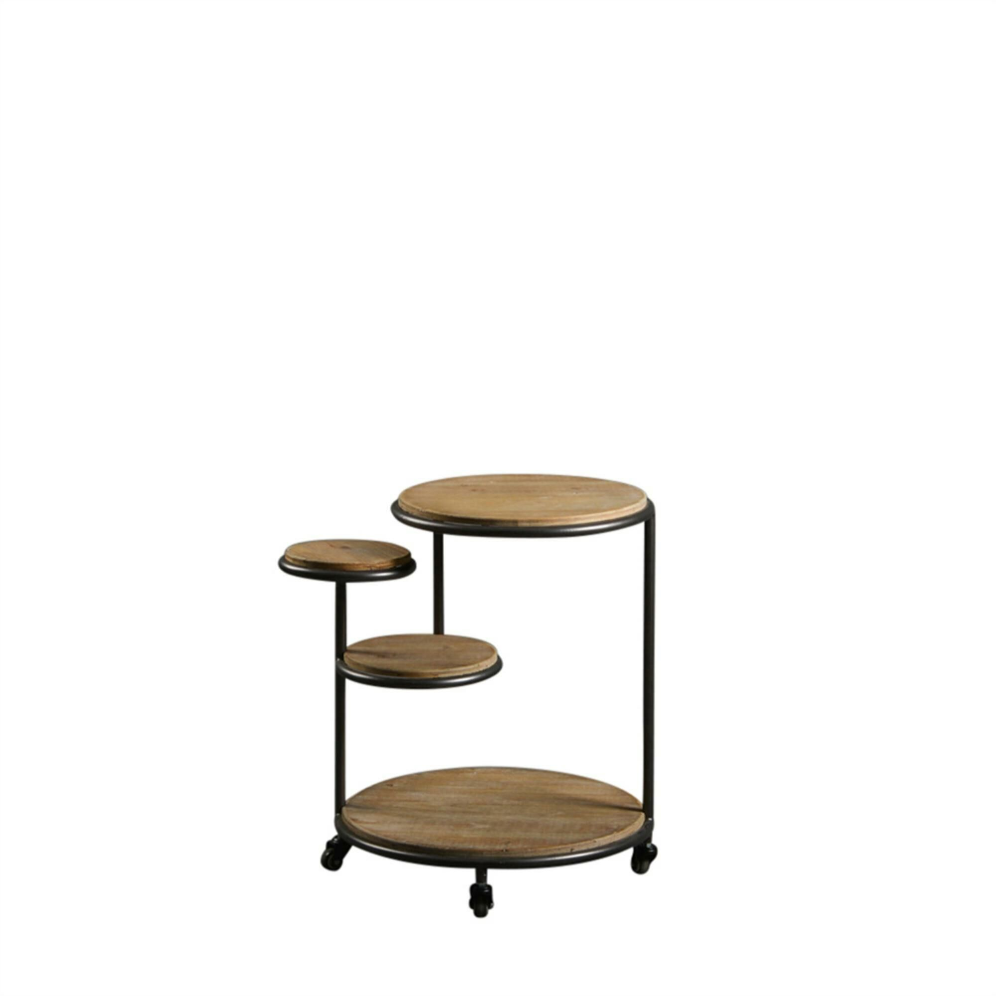 Lecroy Multi Level Metal and Wood 4 Tier End Table