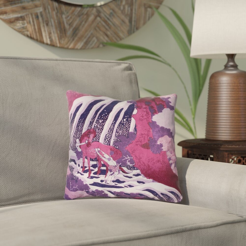 Yasmina Eclectic Horse and Waterfall Cotton Throw Pillow Size: 18