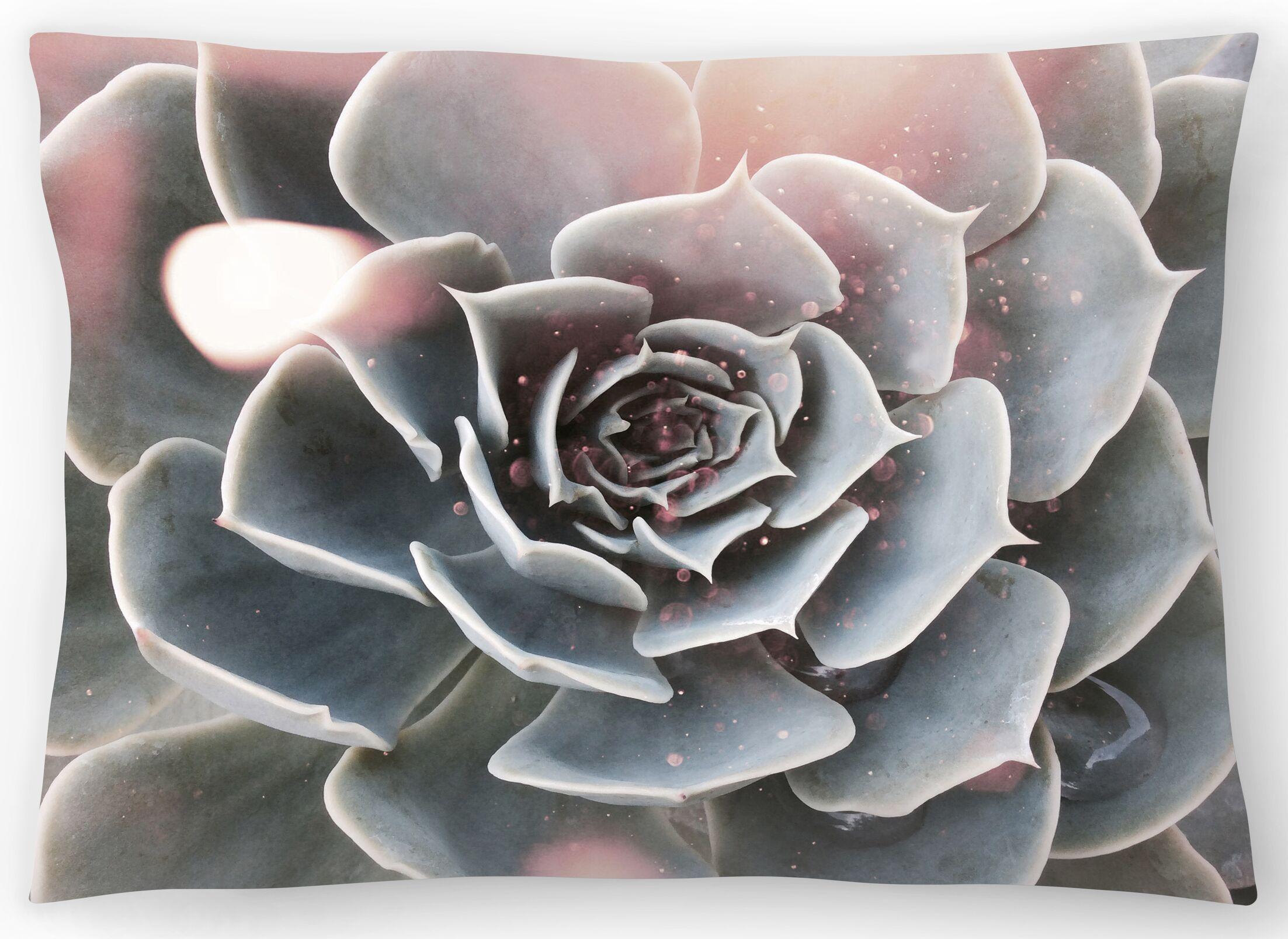 Shiny Succulent Lumbar Pillow Size: 14