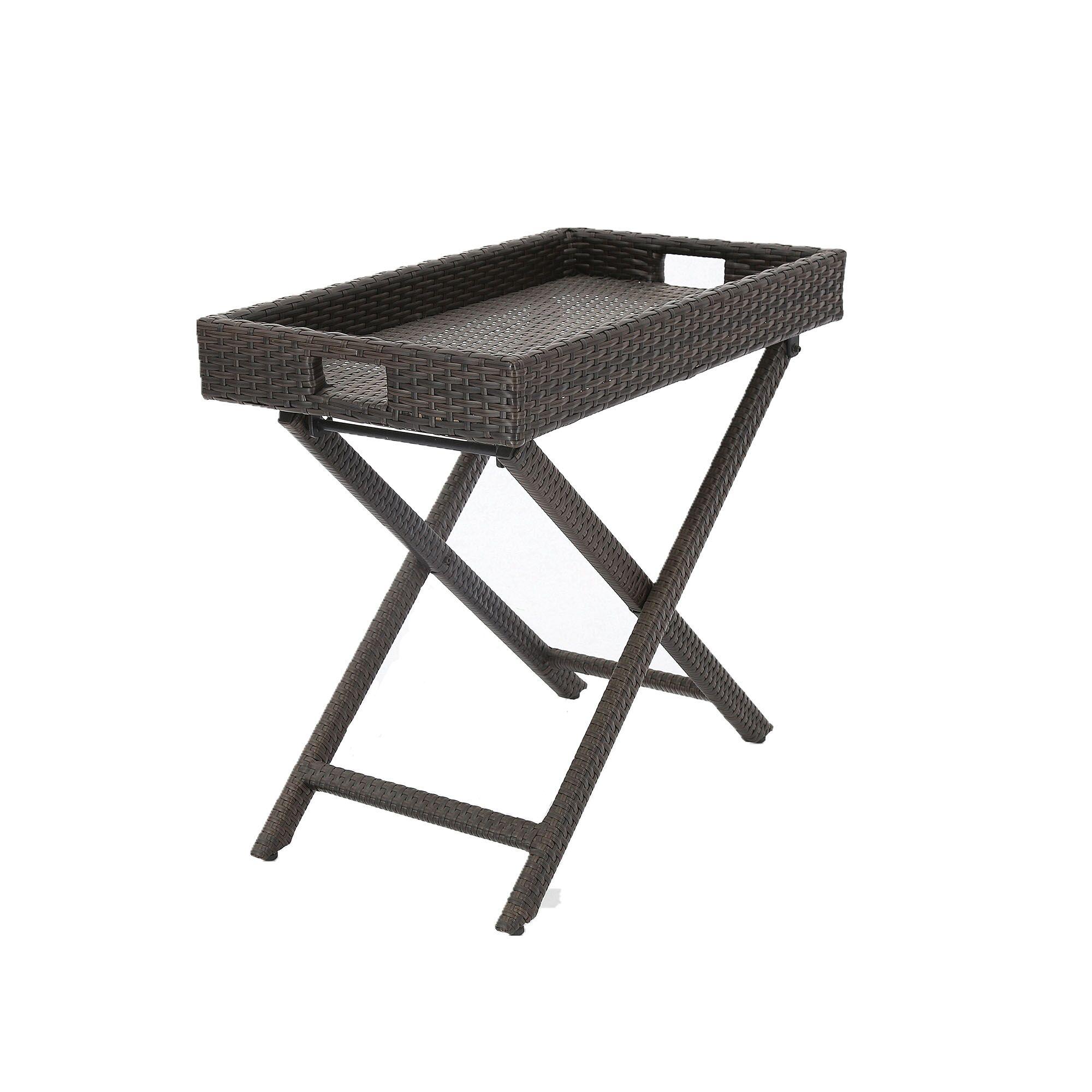 Keffer Extendable Wicker Side Table
