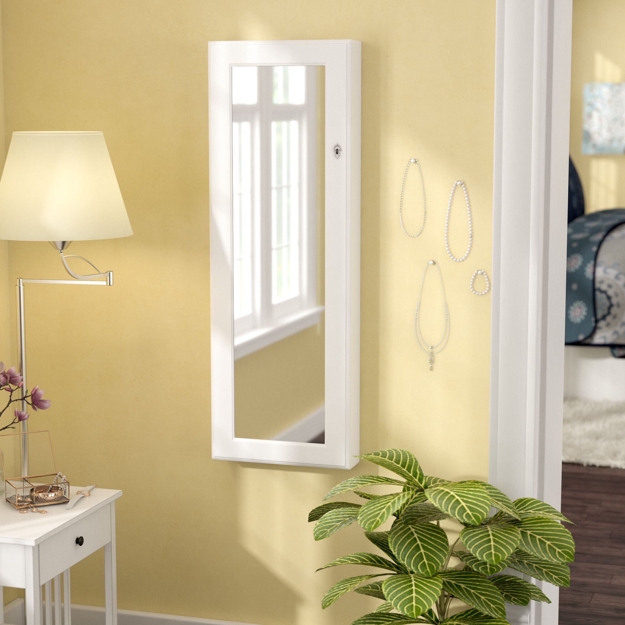 Lauder Over The Door/Wall Mounted Jewelry Armoire with Mirror Color: White