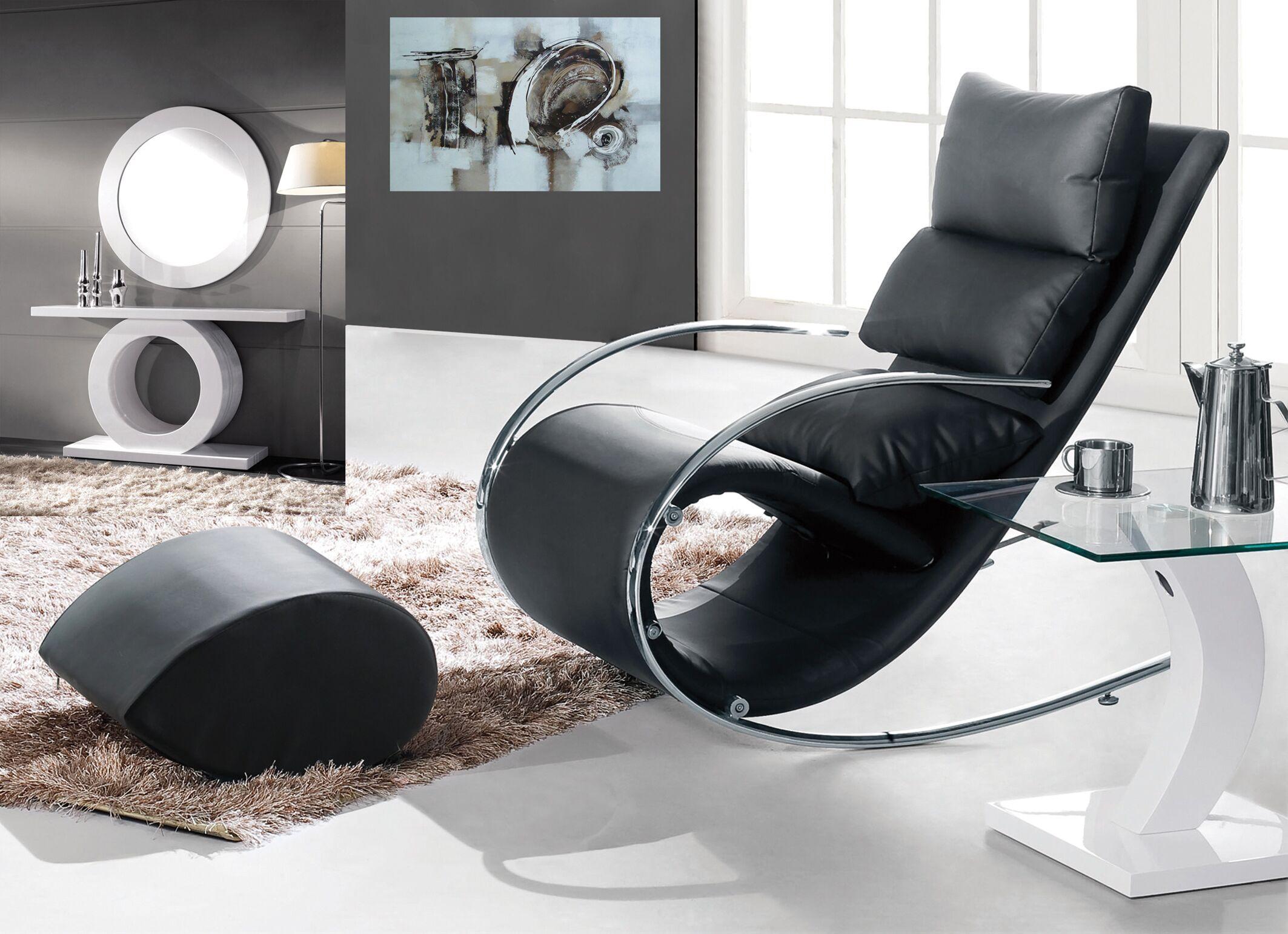 Matina Swivel Armchair and Ottoman Upholstery: Black