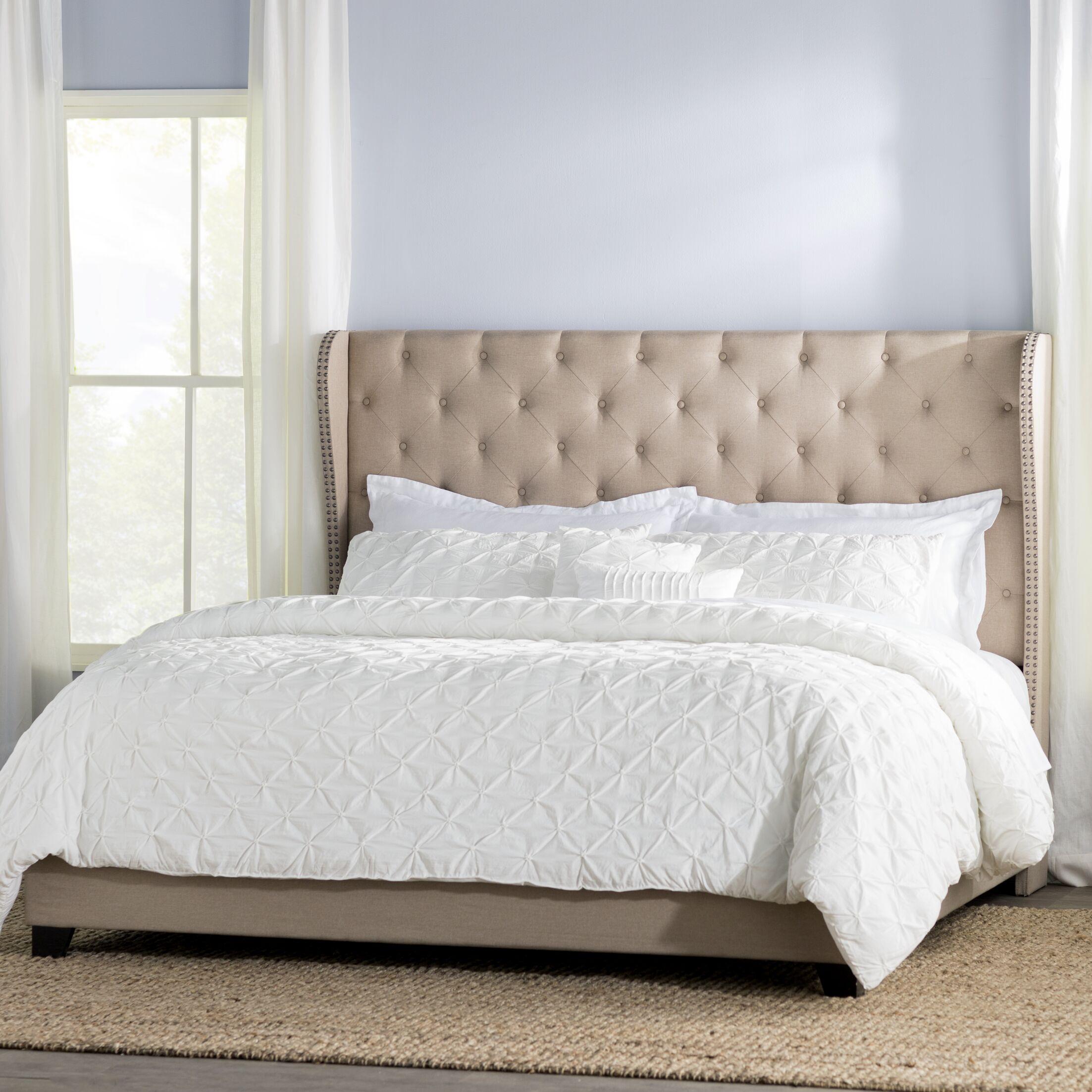 Amir Upholstered Panel Bed Color: Beige, Size: King