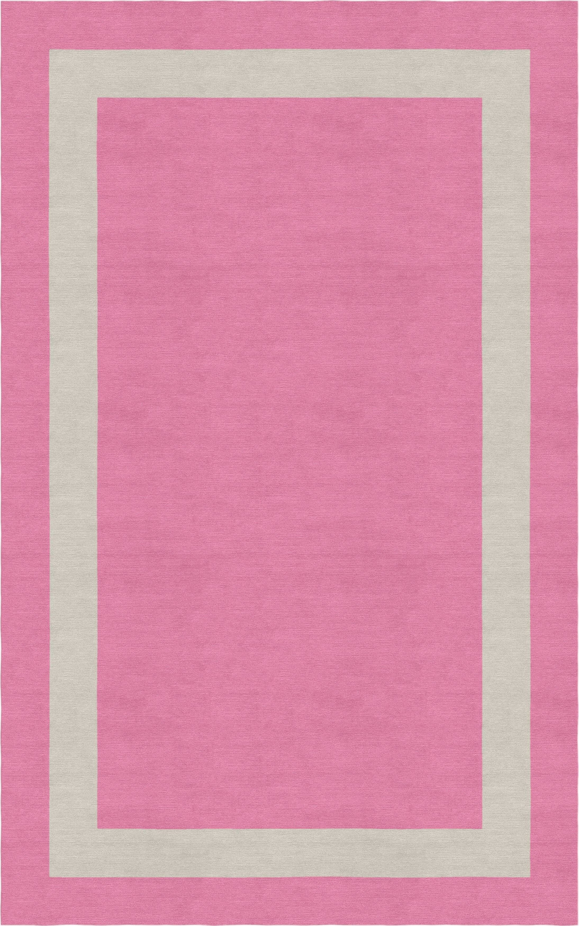 Meidell Border Hand-Tufted Wool Pink/Silver Area Rug Rug Size: Rectangle 8' x 10'