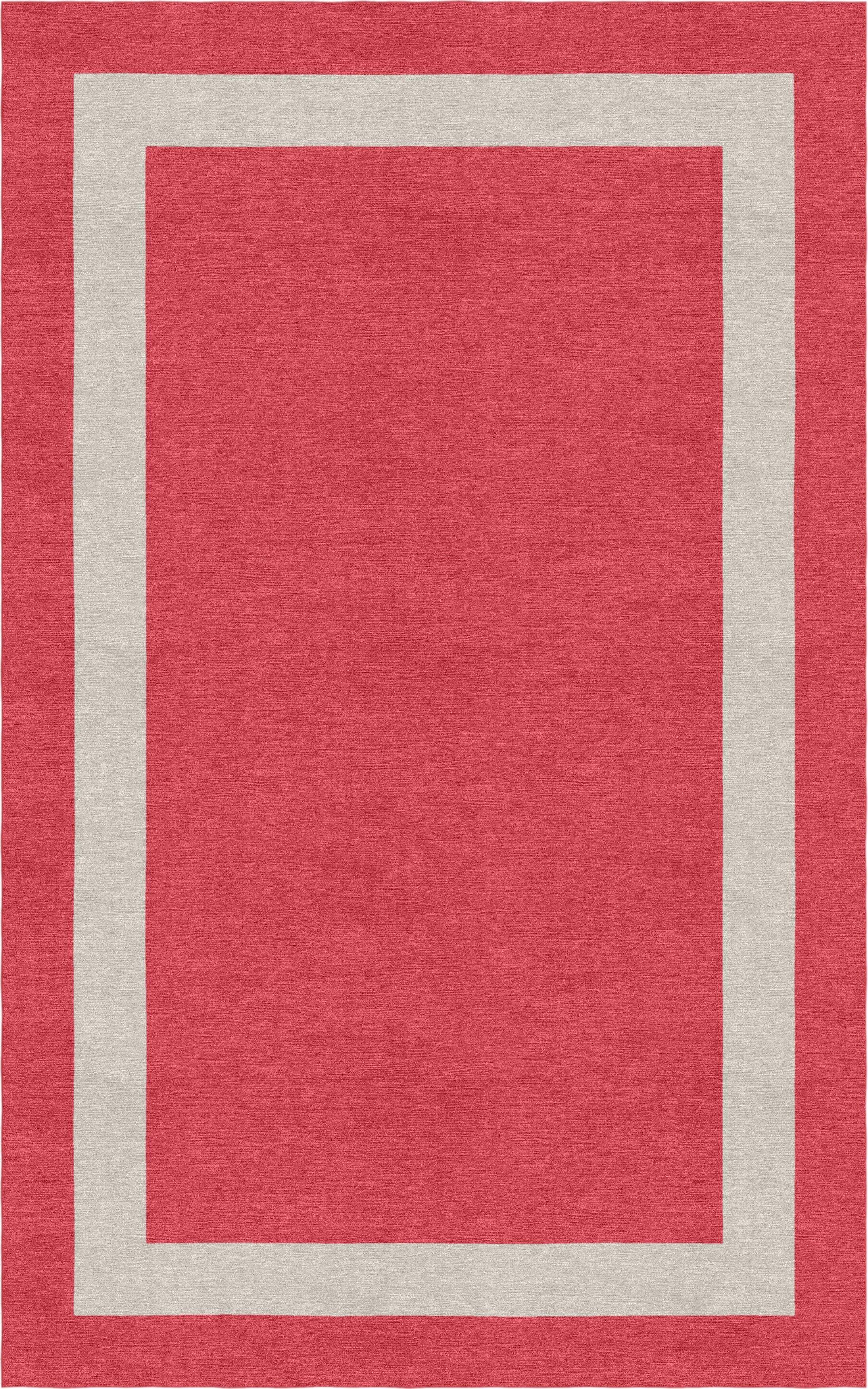 Whitecavage Border Hand-Tufted Wool Red/Silver Area Rug Rug Size: Rectangle 5' x 8'