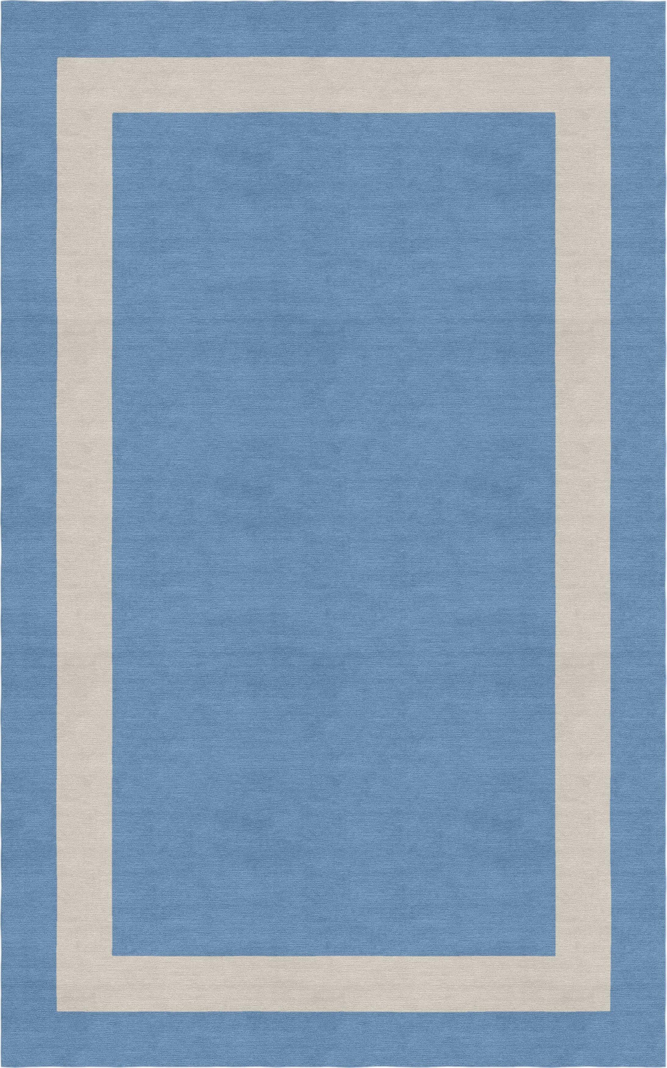 Bhamidipati Border Hand-Tufted Wool Aqua/Silver Area Rug Rug Size: Rectangle 9' x 12'