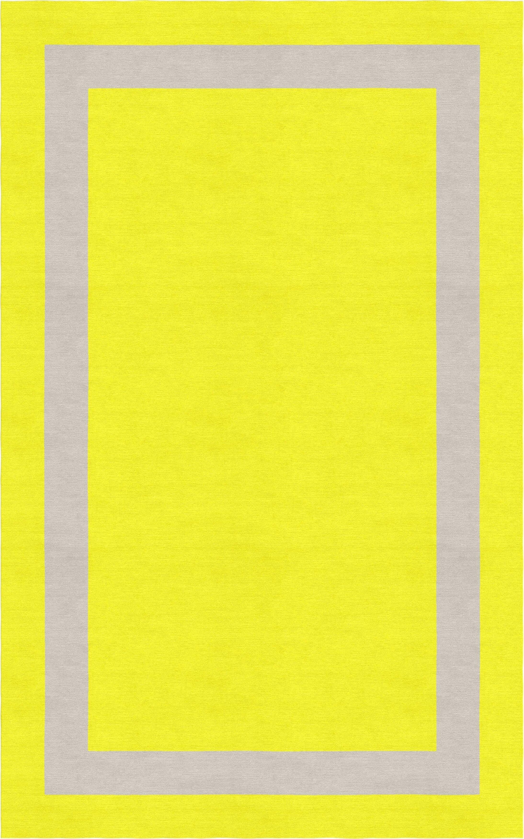 Labanara Border Hand-Tufted Wool Yellow/Silver Area Rug Rug Size: Rectangle 9' x 12'