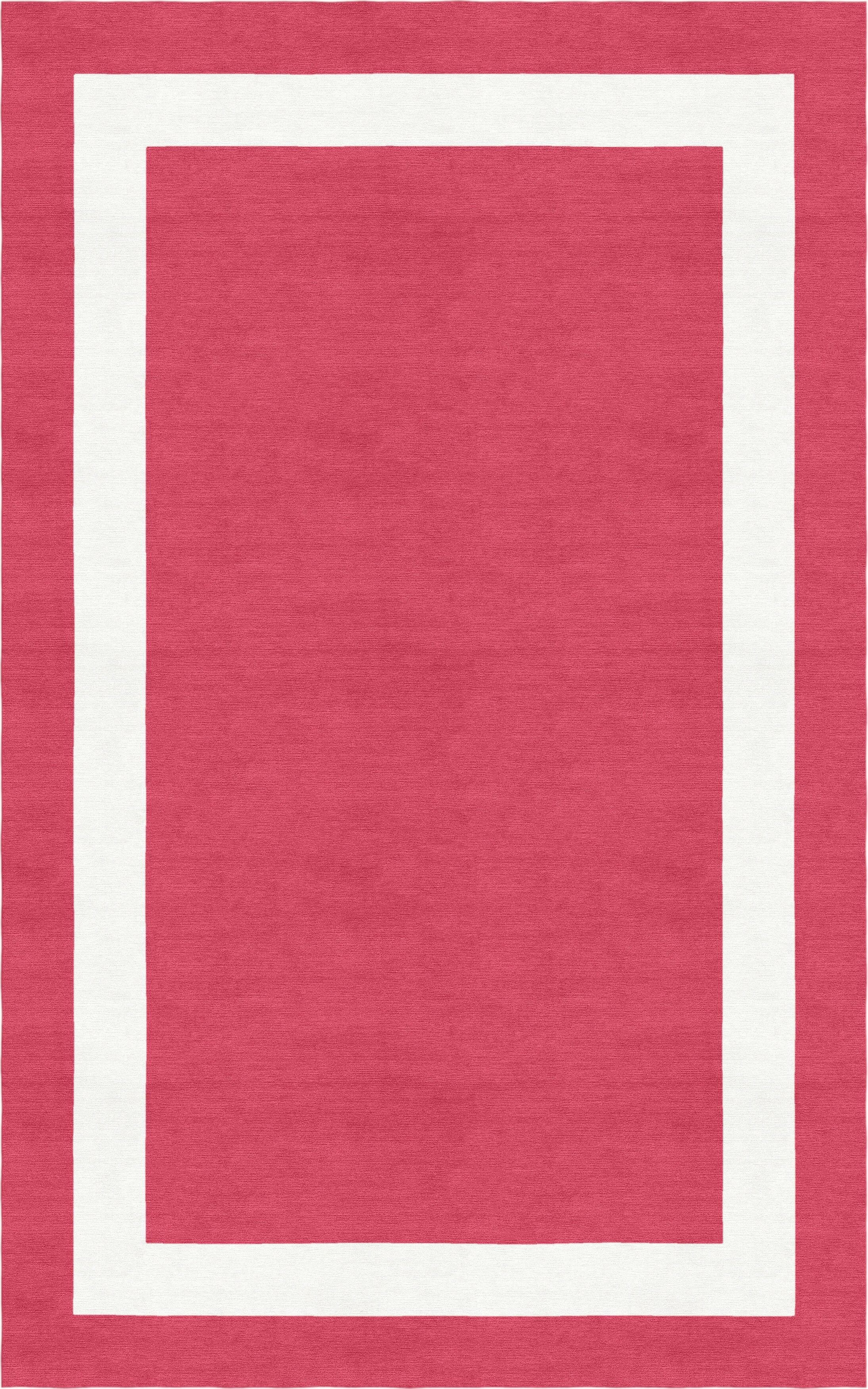 Wistrom Border Hand-Tufted Wool Red/White Area Rug Rug Size: Rectangle 6' x 9'