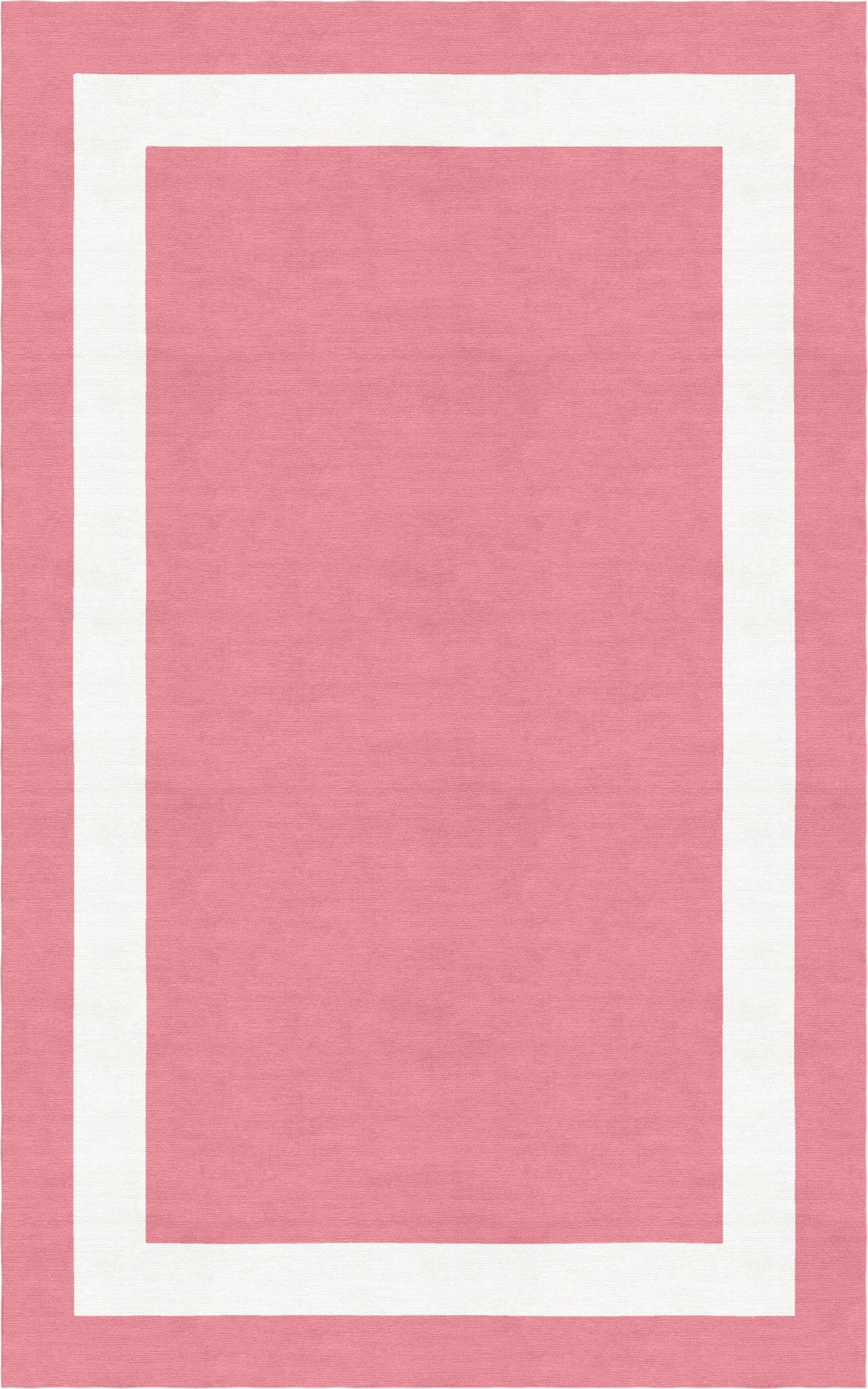 Weidel Border Hand-Tufted Wool Pink/White Area Rug Rug Size: Rectangle 5' x 8'