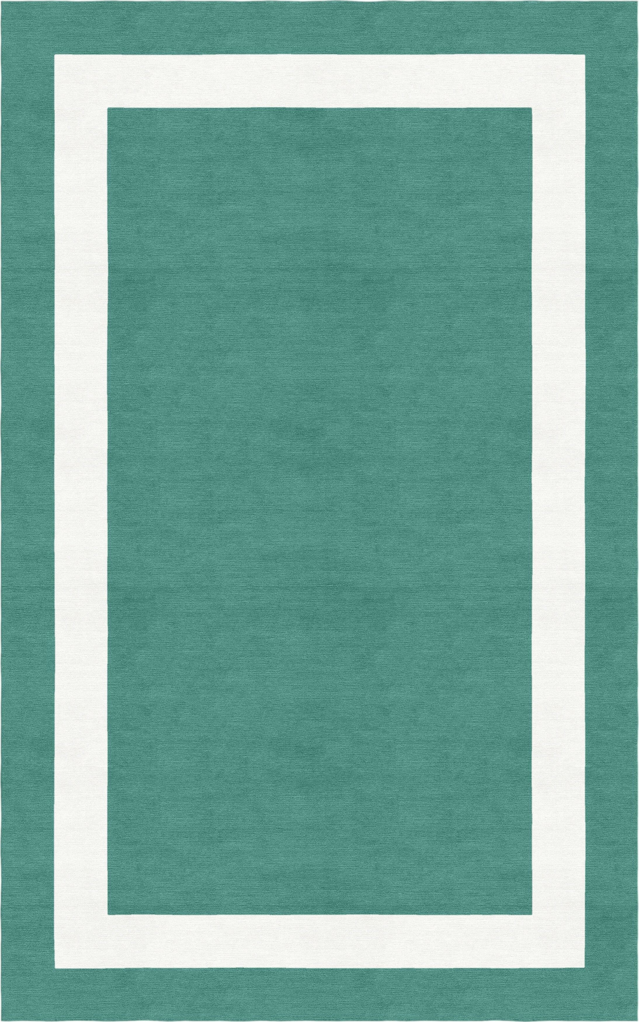 Crittenton Border Hand-Tufted Wool Teal/White Area Rug Rug Size: Rectangle 6' x 9'