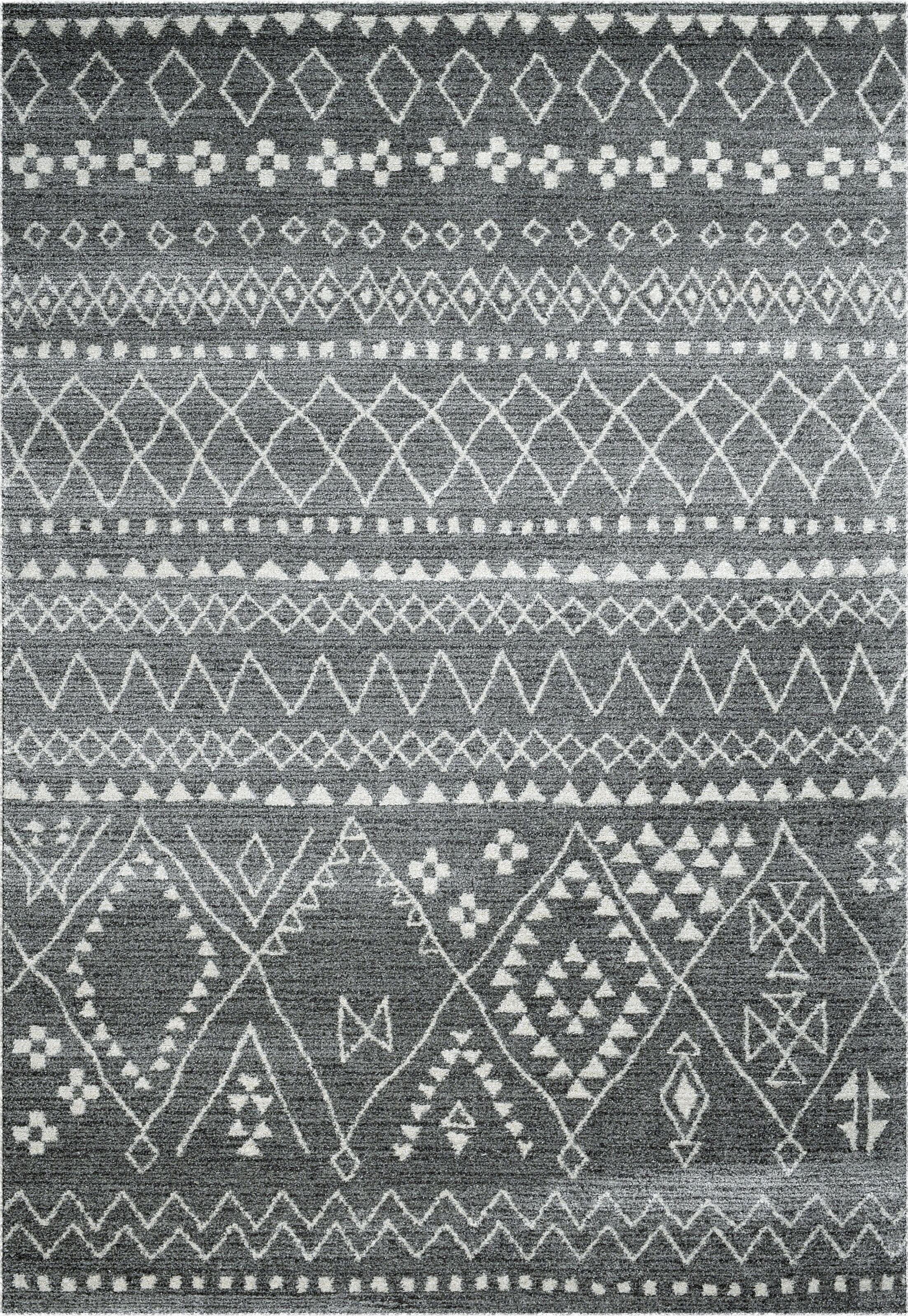Pisano Gray/Ivory Area Rug Rug Size: Rectangle 6'7