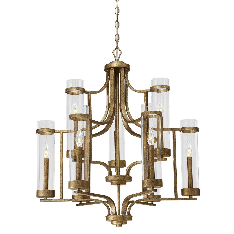 Iris 9-Light Shaded Chandelier Finish: Vintage Gold