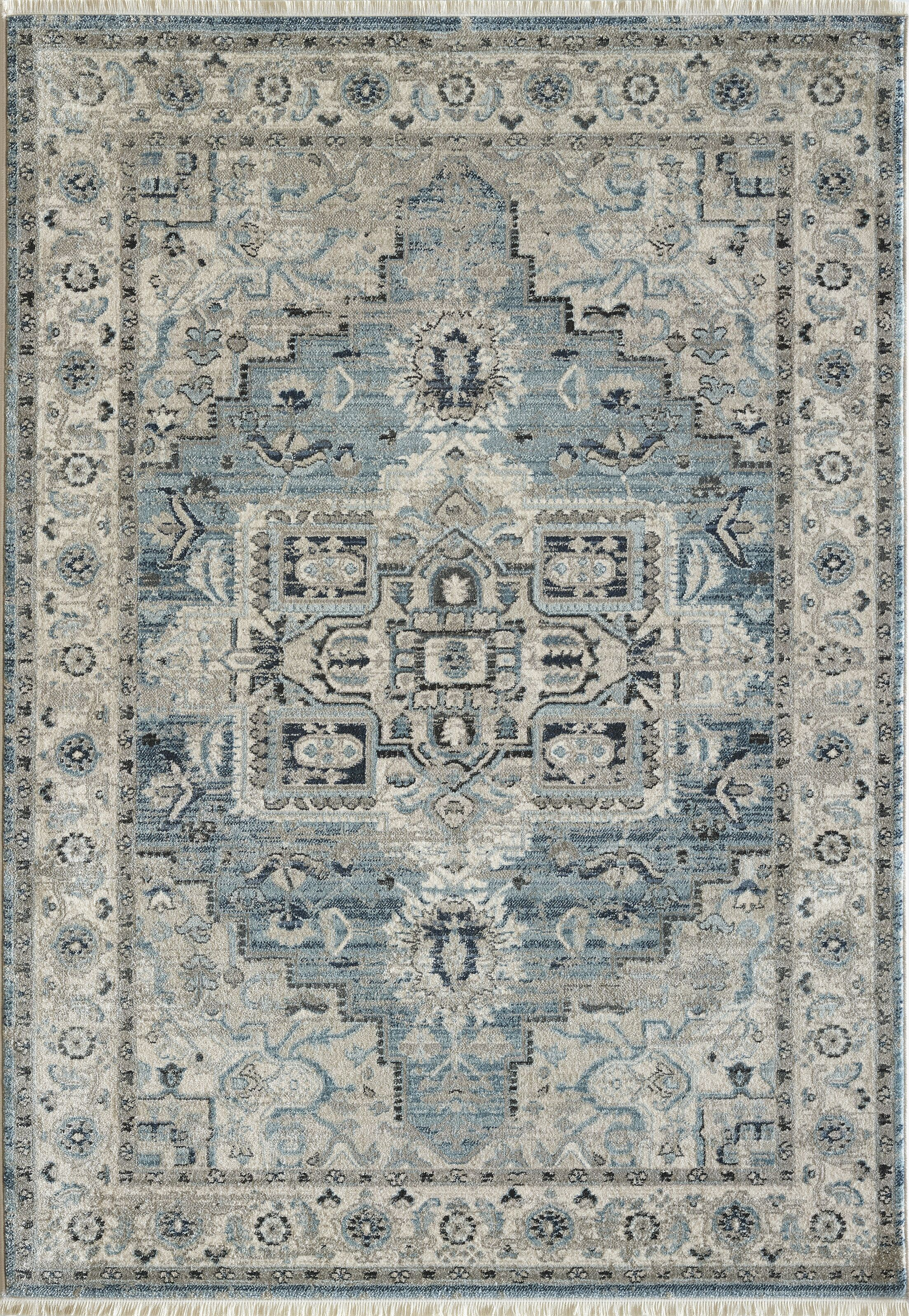 Omarion Light Blue/Cream Area Rug Rug Size: Rectangle 7'10