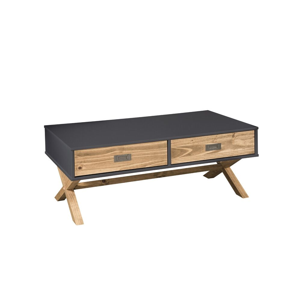 Teague Coffee Table Color: Dark Gray/Natural Wood