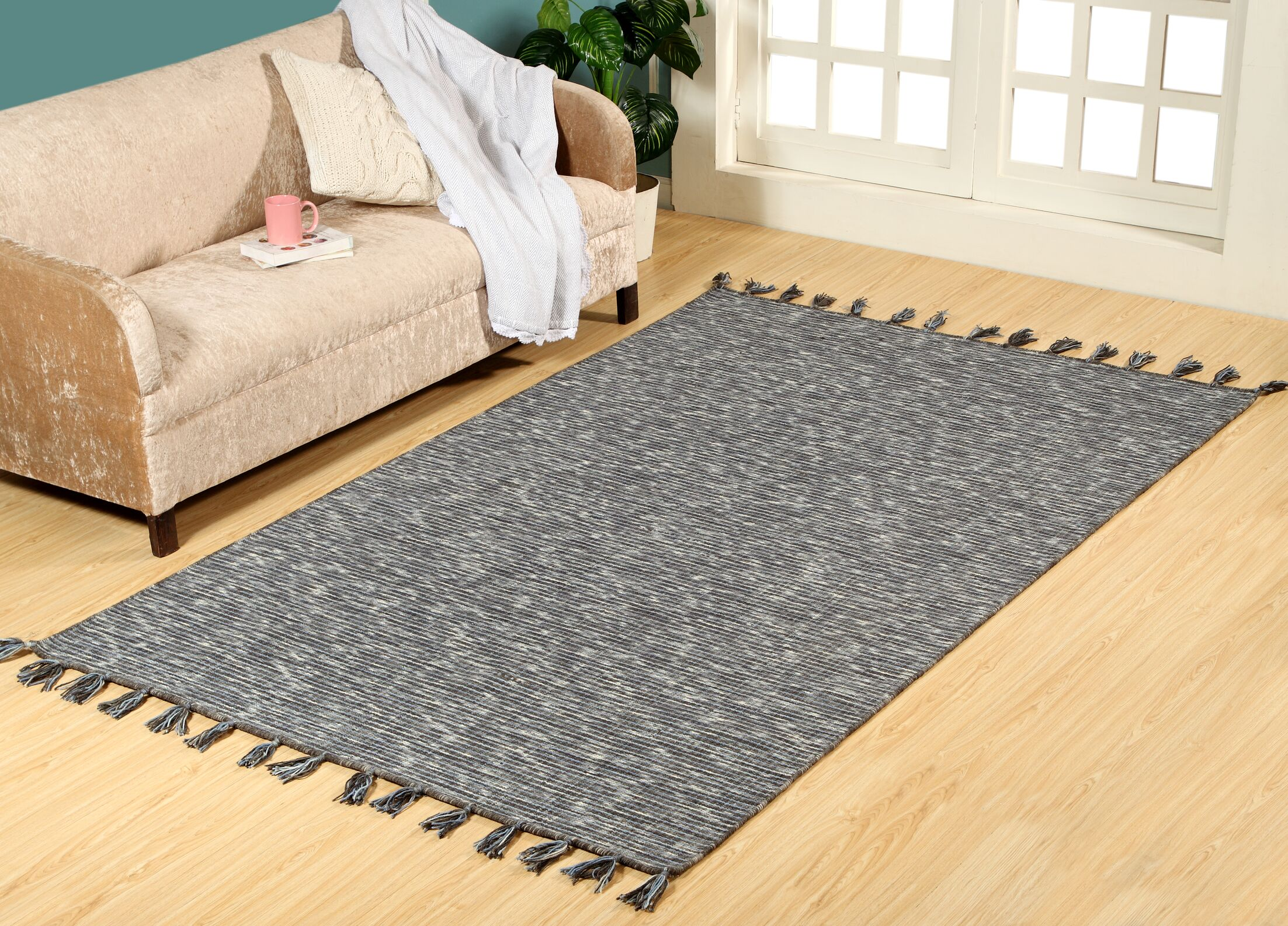 Willey Hand-Woven Wool Charcoal Area Rug Rug Size: Rectangle 8' x 11'