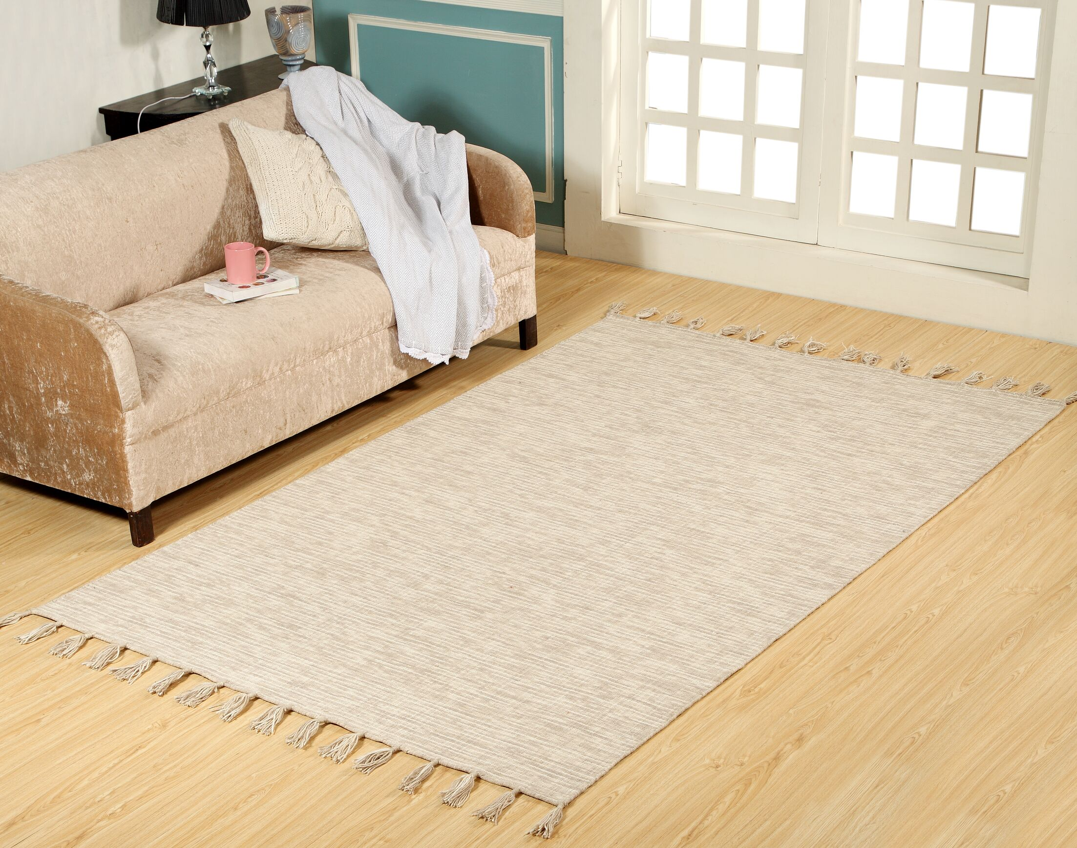Willey Hand-Woven Wool Beige Area Rug Rug Size: Rectangle 8' x 11'