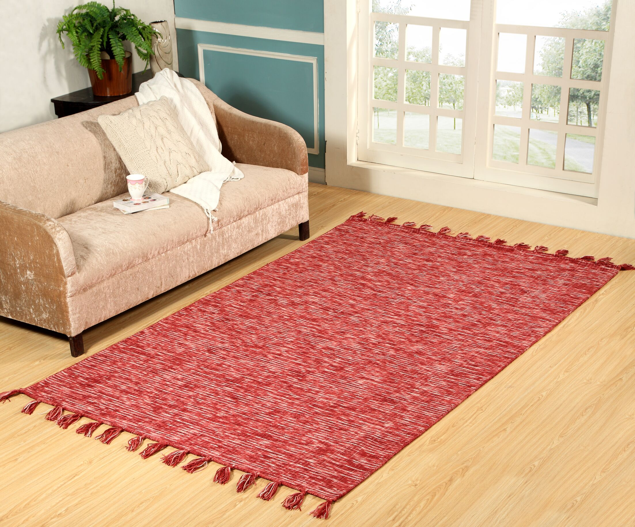 Willey Hand-Woven Wool Red Area Rug Rug Size: Rectangle 5' x 8'