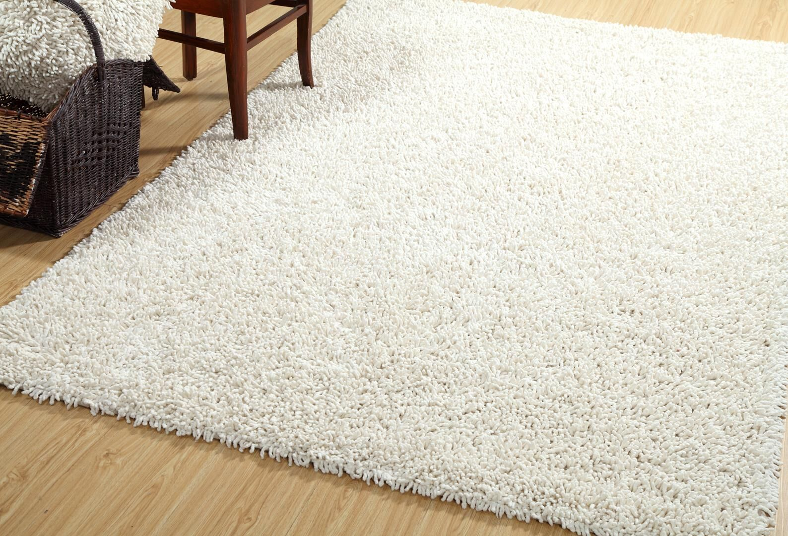 One-of-a-Kind Polivy Shag Silky Hand Woven Cotton Ivory Are Rug