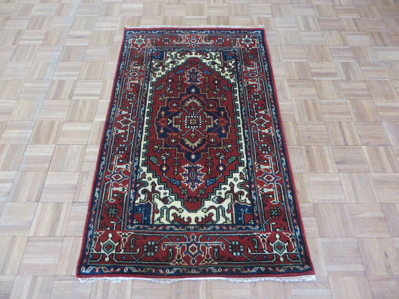 One-of-a-Kind Elford Serapi Hand-Knotted Wool Brick Red Area Rug