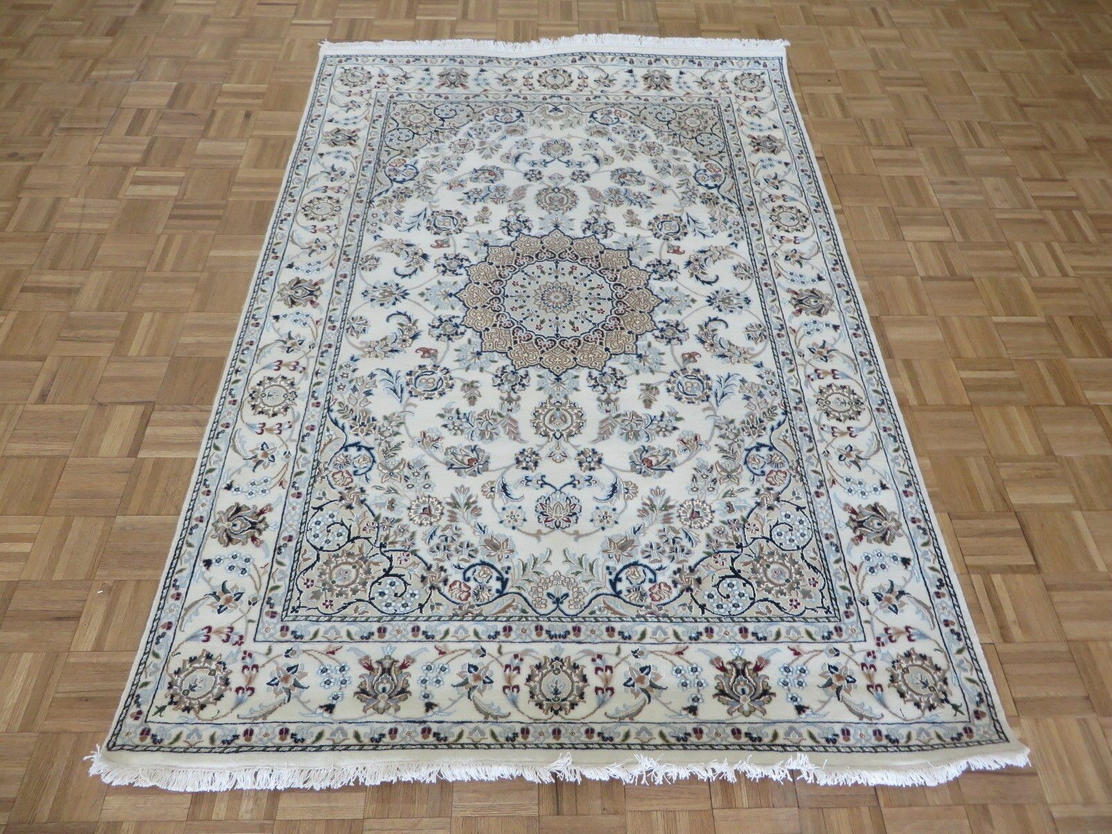 One-of-a-Kind Eleonor Fine Nain Hand-Knotted Ivory/Tan Area Rug