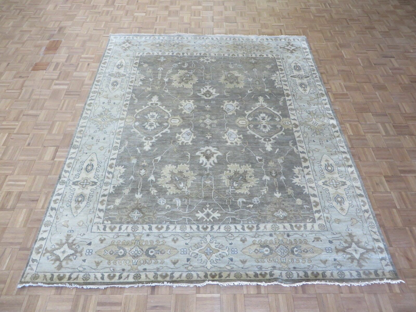 One-of-a-Kind Eladia Oushak Hand-Knotted Wool Gray Area Rug