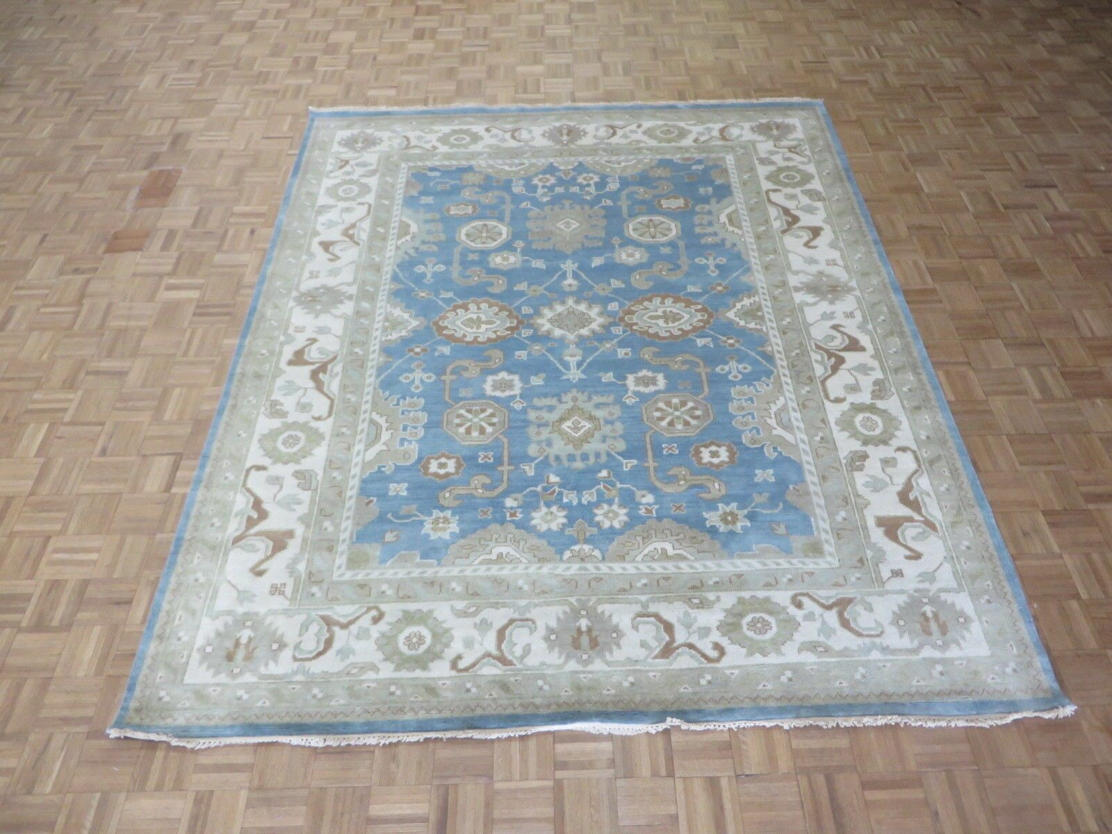 One-of-a-Kind Eladia Oushak Hand-Knotted Wool Light Blue Area Rug