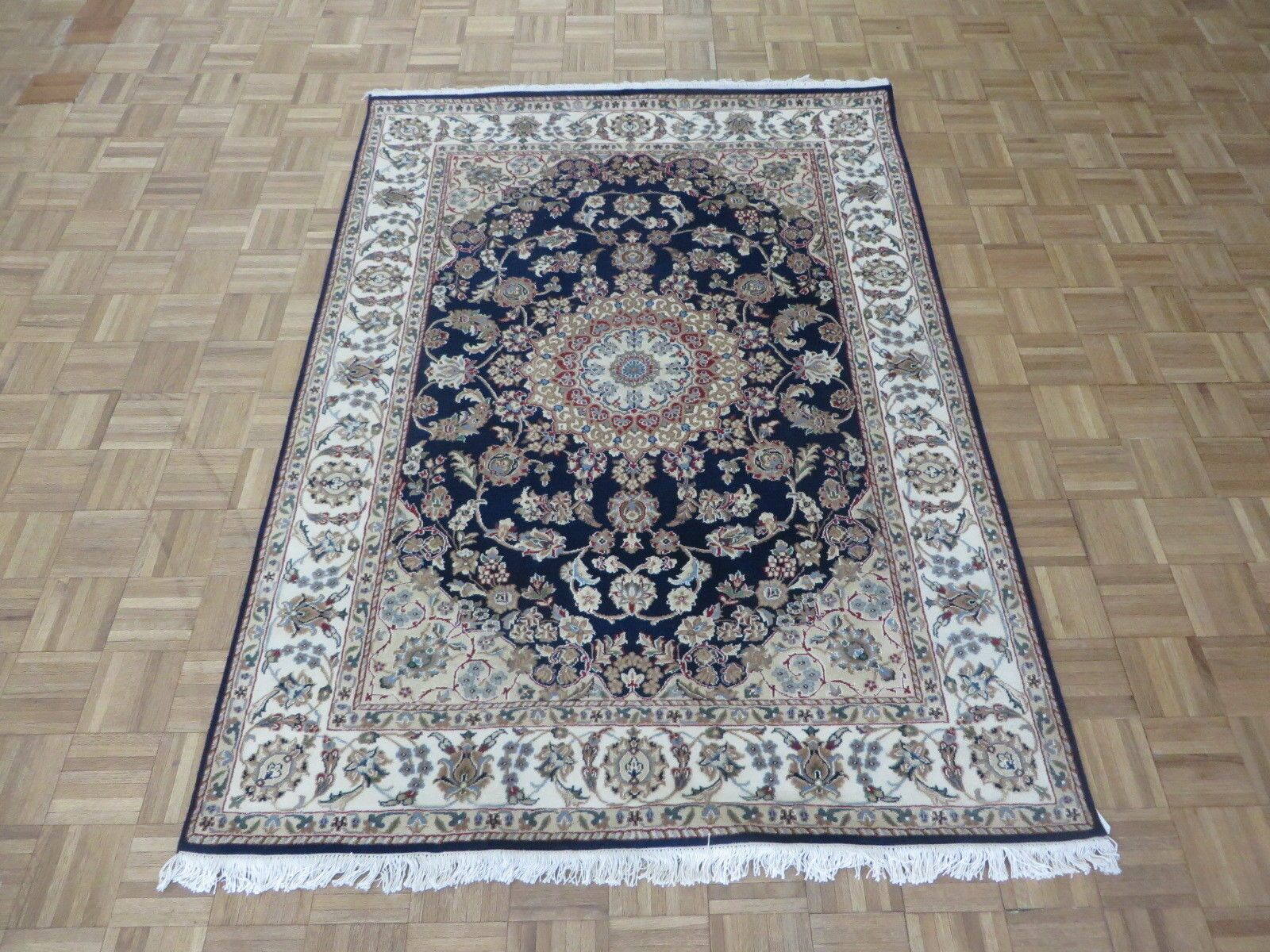 One-of-a-Kind Eleonor Fine Nain Hand-Knotted Navy/Beige Area Rug