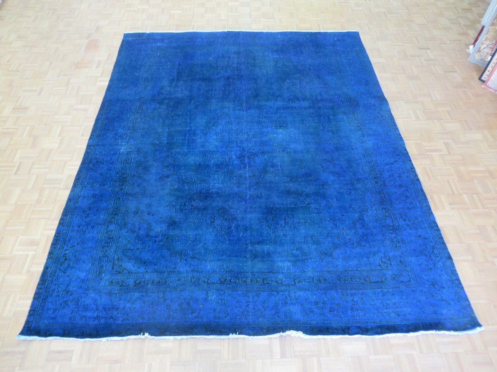 One-of-a-Kind Edinburgh Over-dyed Royal Persian Hand-Knotted Wool Royal Blue Area Rug
