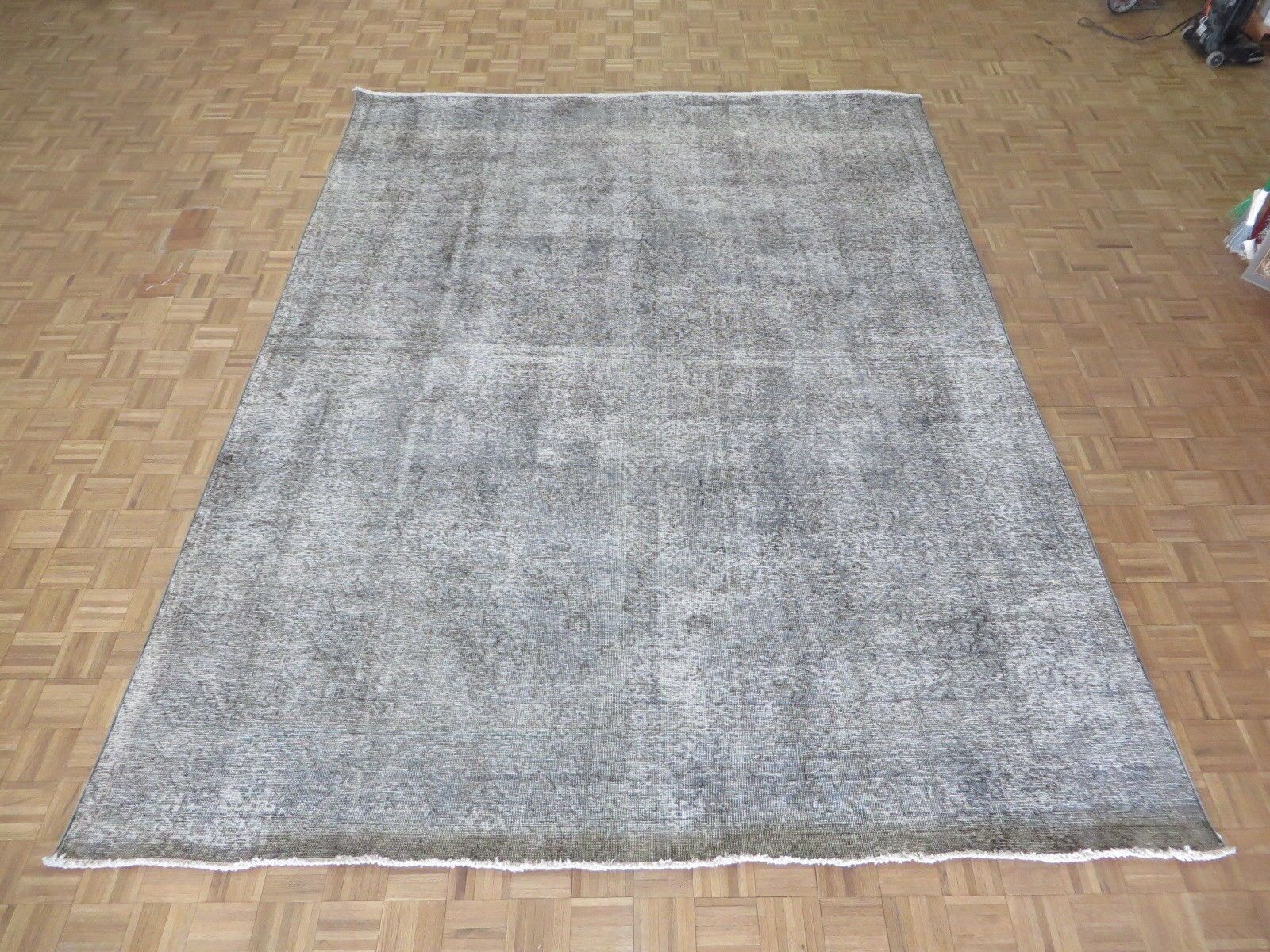 One-of-a-Kind Edinburgh Over-dyed Persian Hand-Knotted Wool Gray Area Rug