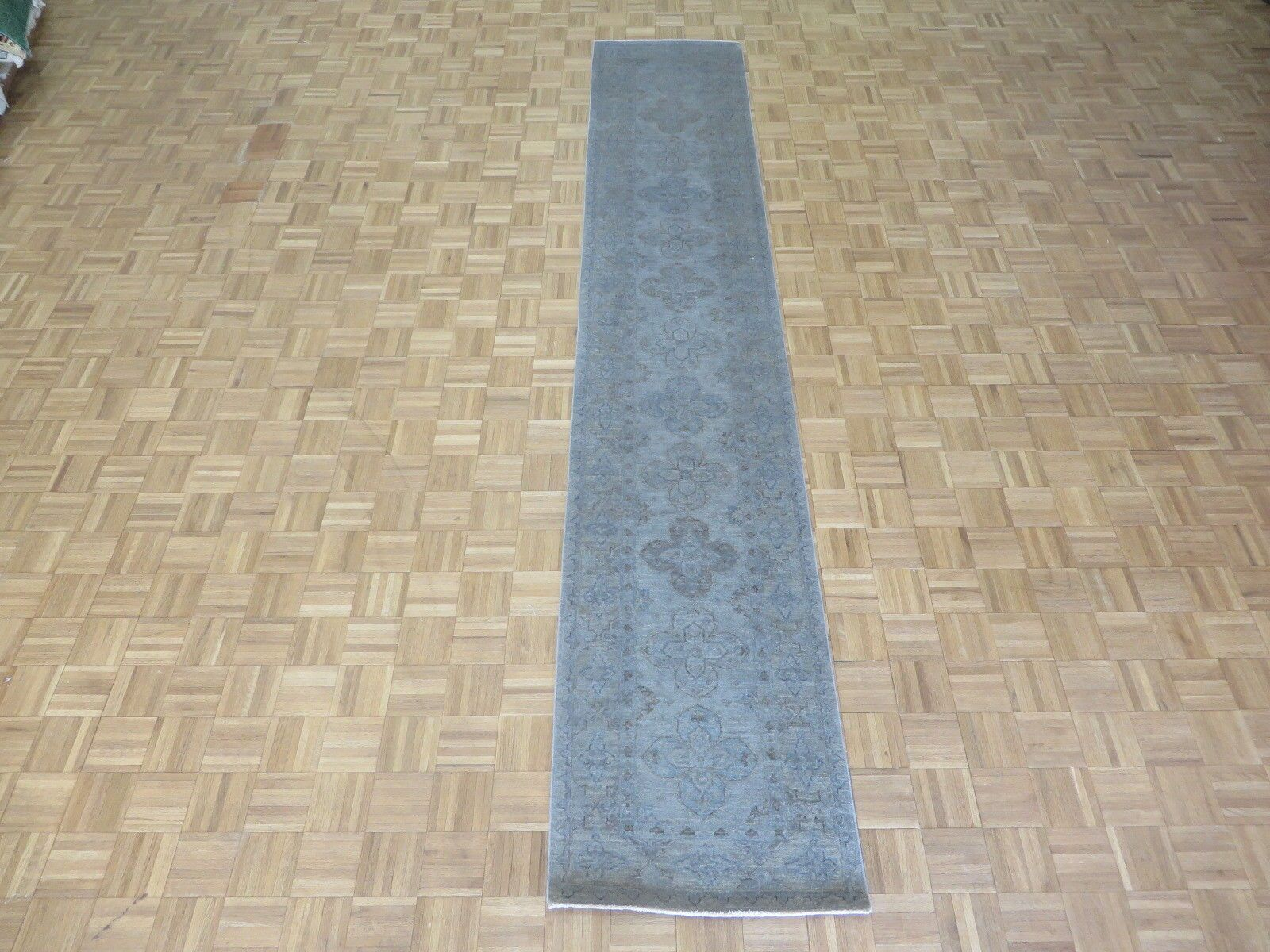 One-of-a-Kind Baltic Over-dyed Hand-Knotted Wool Silver Blue Area Rug