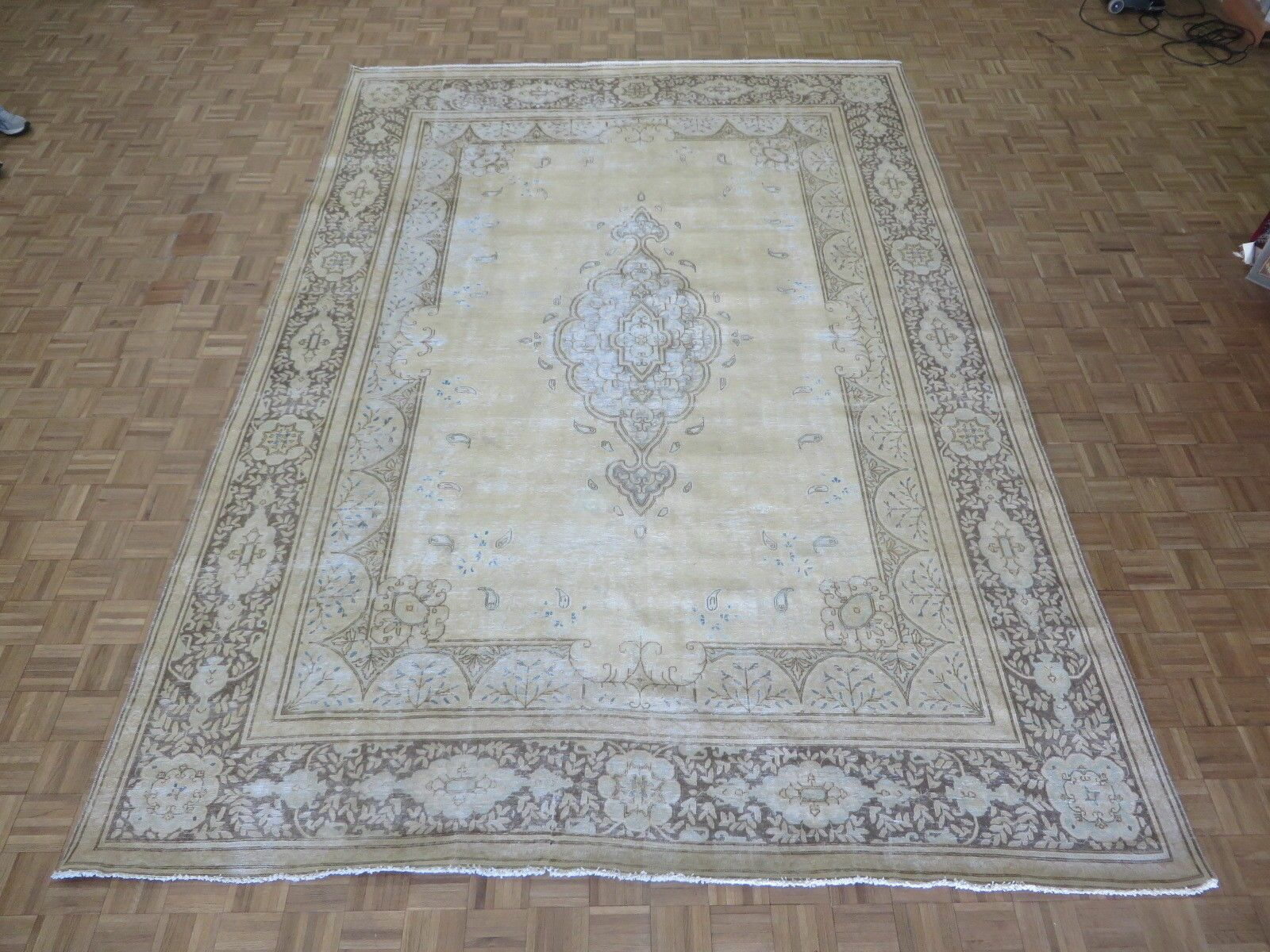 One-of-a-Kind Eisley Over-dyed Persian Hand-Knotted Wool Gold/Brown Area Rug
