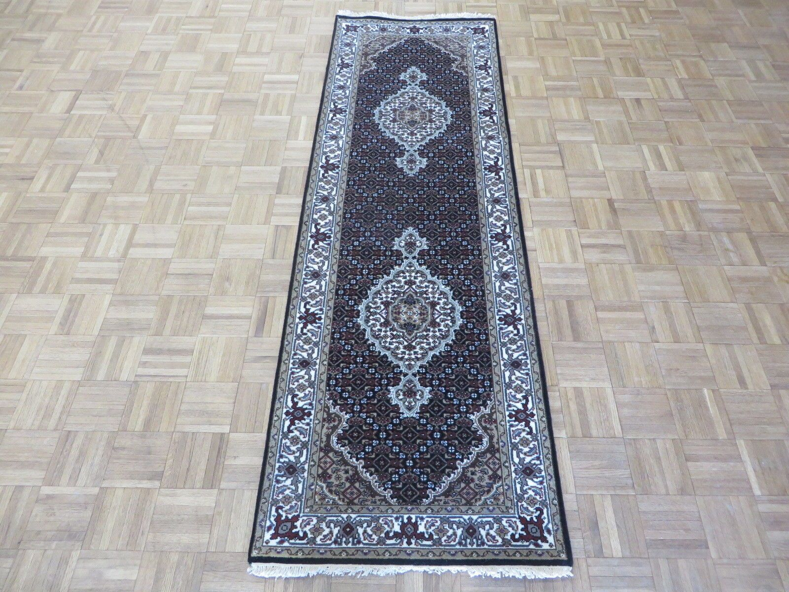 One-of-a-Kind Raiden Fine Tabriz Persian Hand-Knotted Black Area Rug